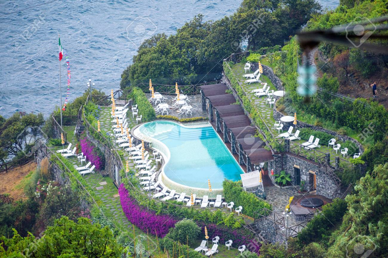 aerial view to a hotel in monterosso al mare, cinque terre, italy