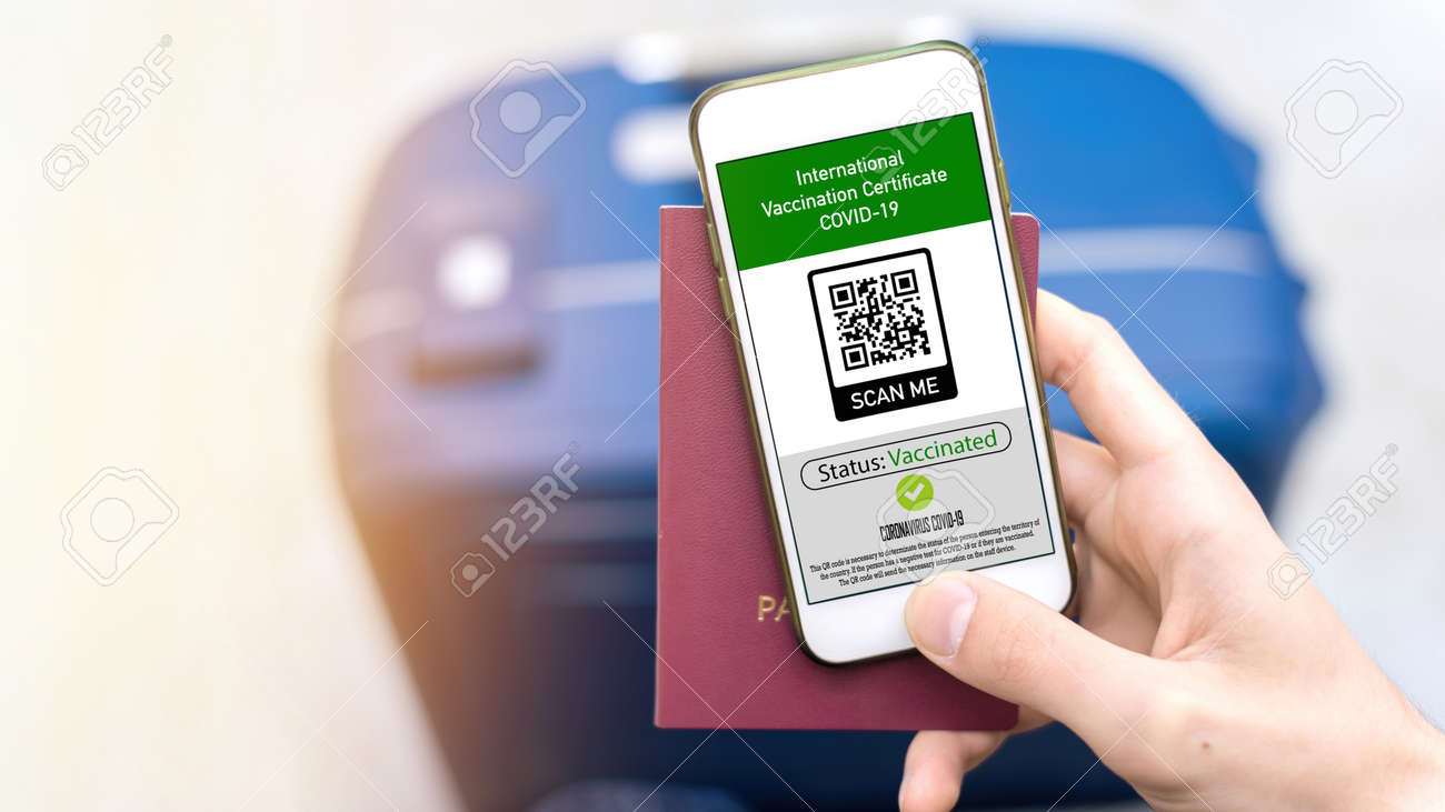 Male hand holding passport and smartphone with International Vaccination Certificate COVID-19 QR code, suitcase - 169558053