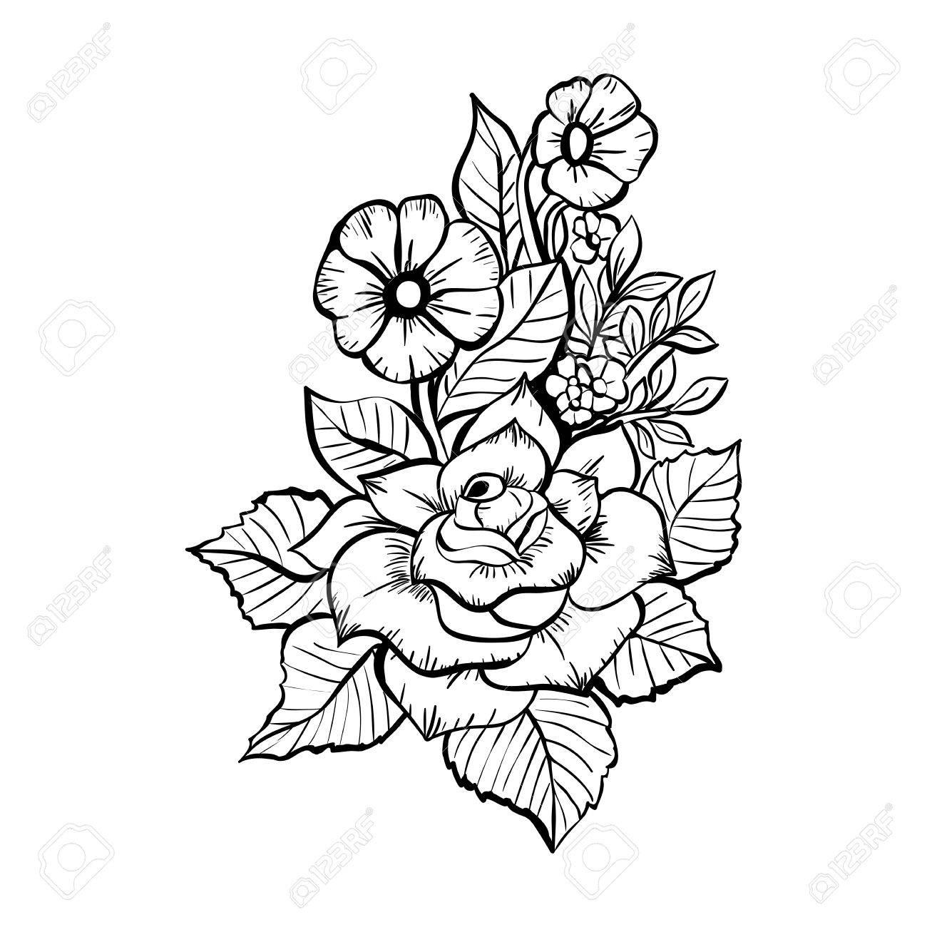 Hand Gezeichneten Blumen Schwarz Weiss Bouquet Mit Rosen Lizenzfrei