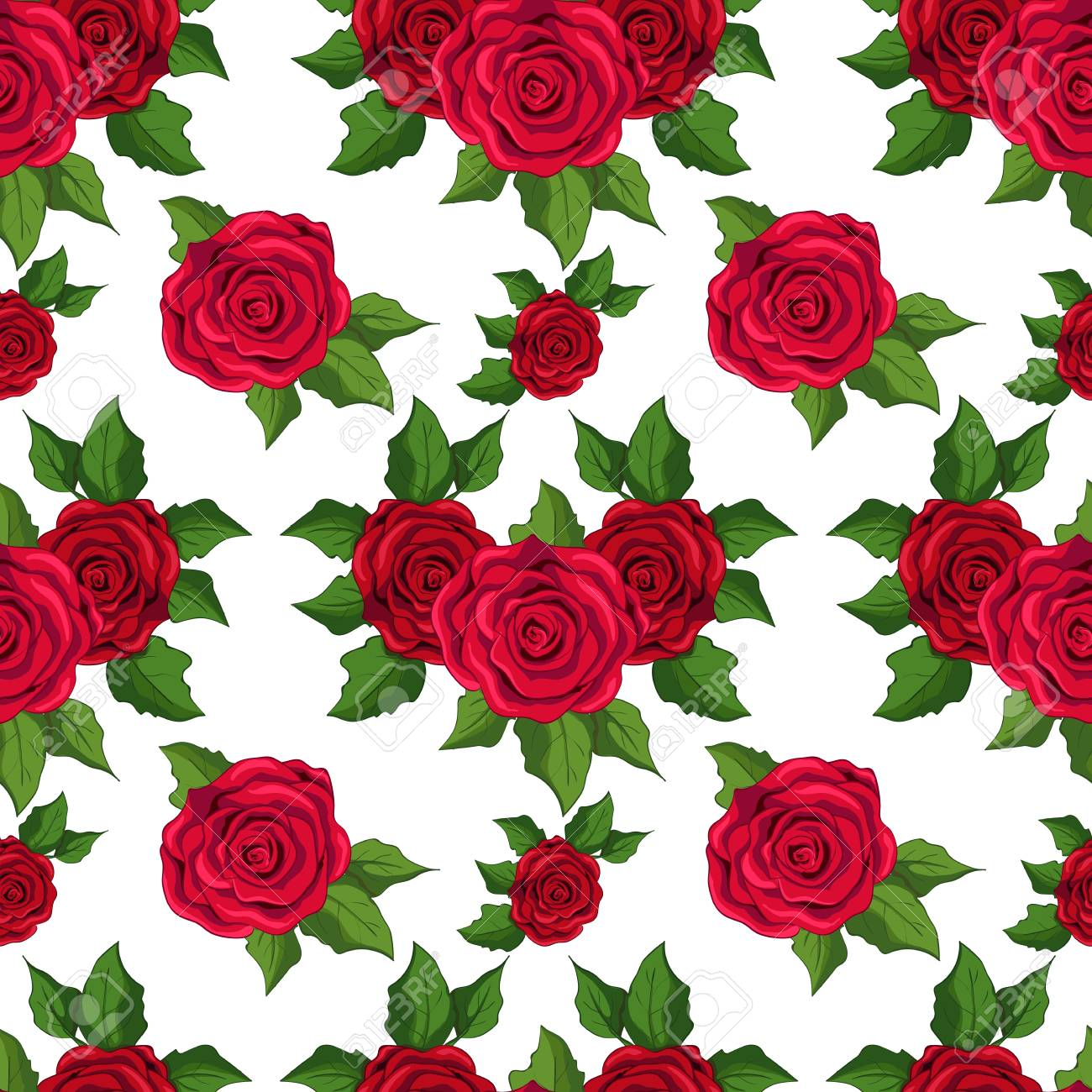 Seamless Floral Pattern Wallpaper With Red Roses On White Background Stock Vector