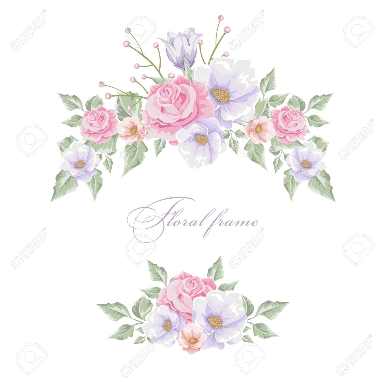 Bouquets Of Flowers Frame Design Border Template. Royalty Free ...