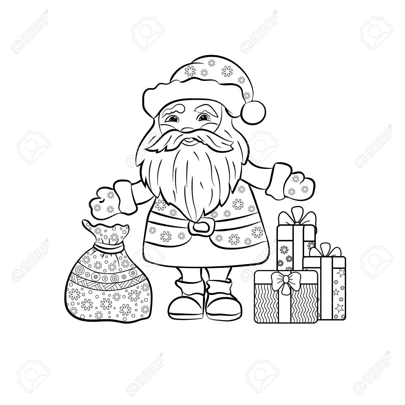 Père Noël Avec Des Cadeaux De Noël Illustration Vectorielle Dessinés à La Main Pour Cahier De Coloriage
