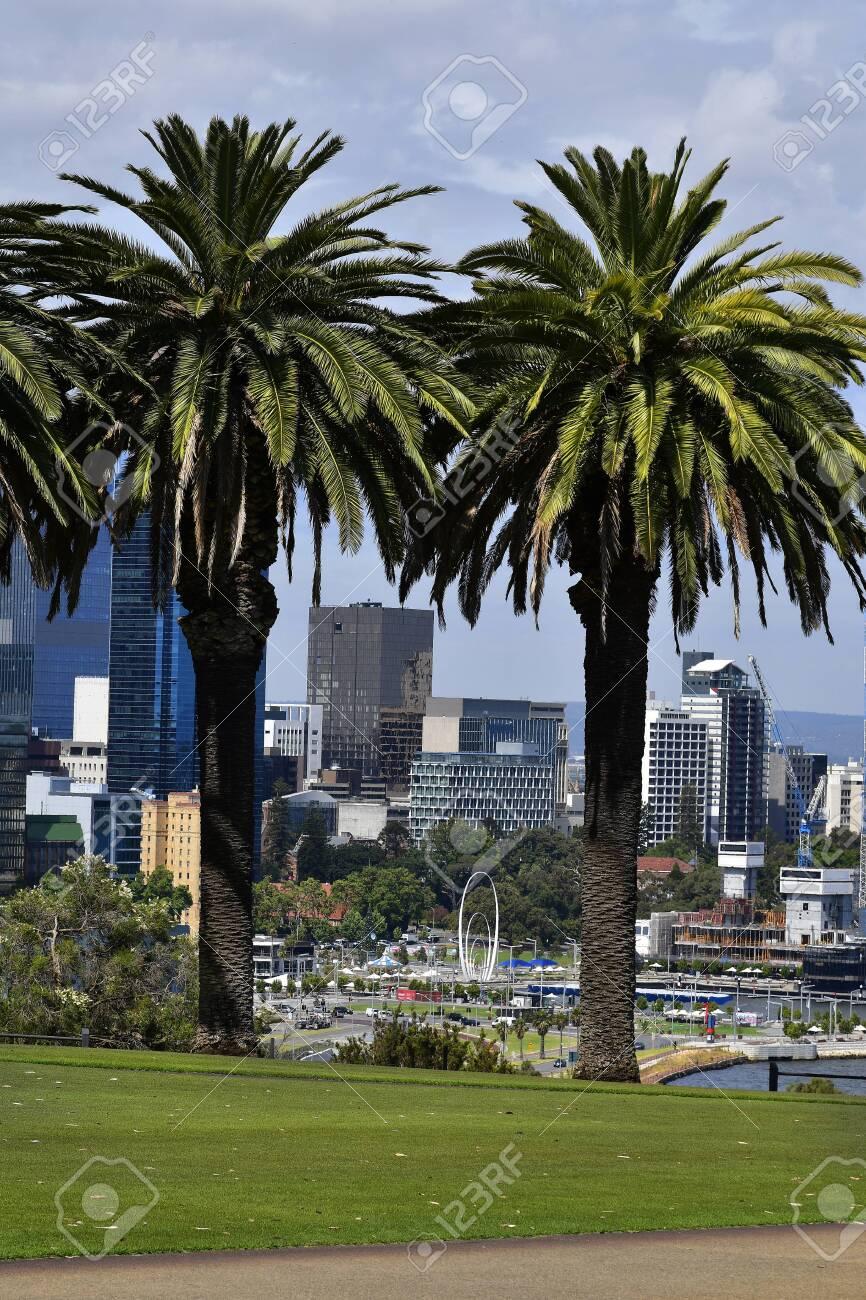 Perth, WA, Australia - November 29, 2017: cityscape from Kings