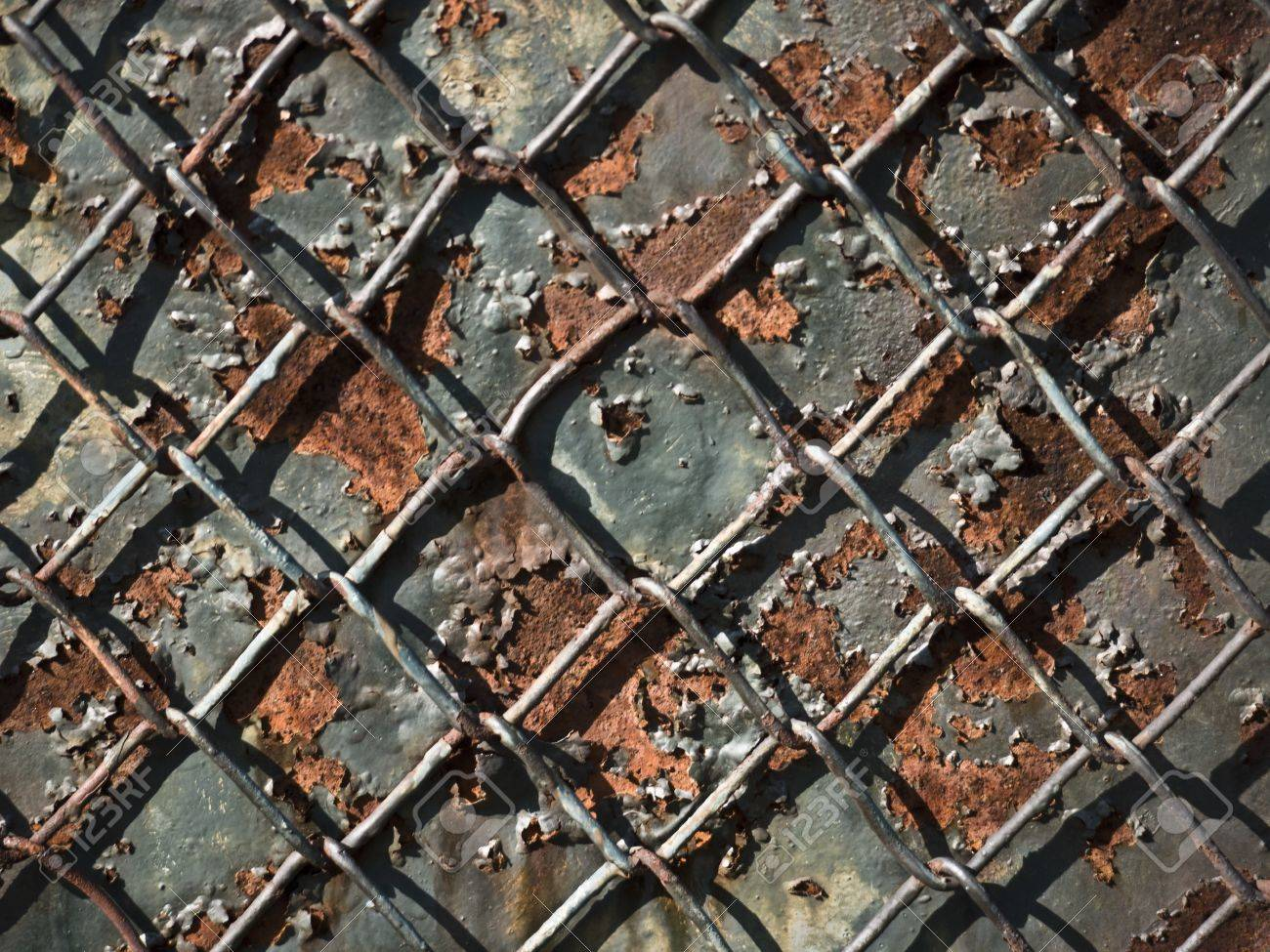 Chain Link Fence In Front Of A Rusty Metal Plate Stock Photo Picture And Royalty Free Image Image 10287033