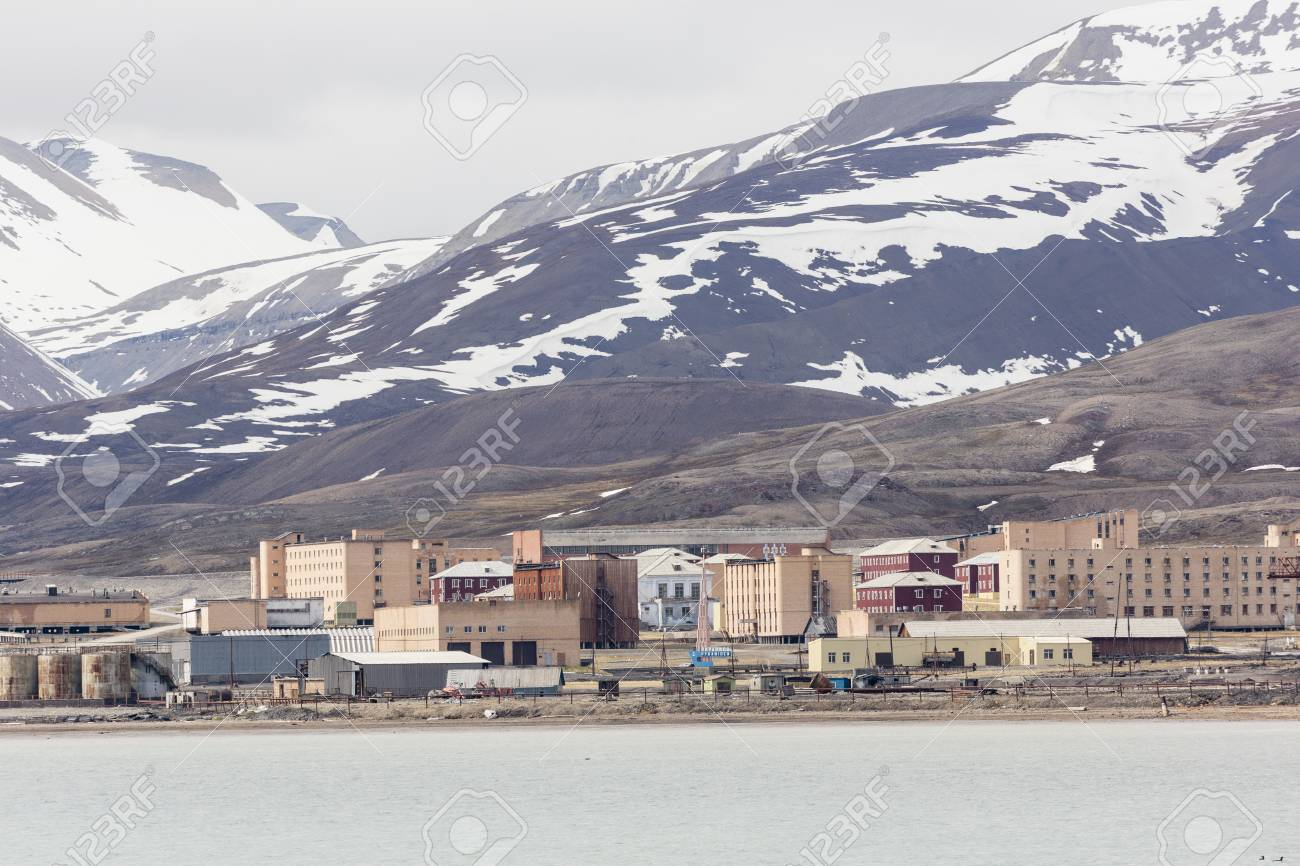 The abandoned russian mining town Pyramiden in Svalbard, Spitsbergen,