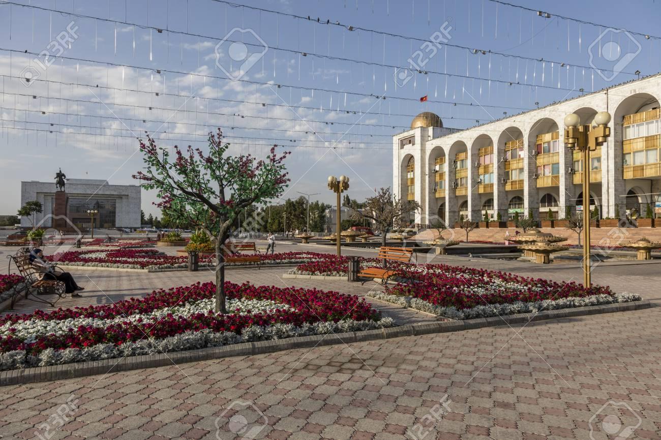 Bishkek, Kyrgyzstan August 9 2018: Ala-Too Square  Bishkek formerly