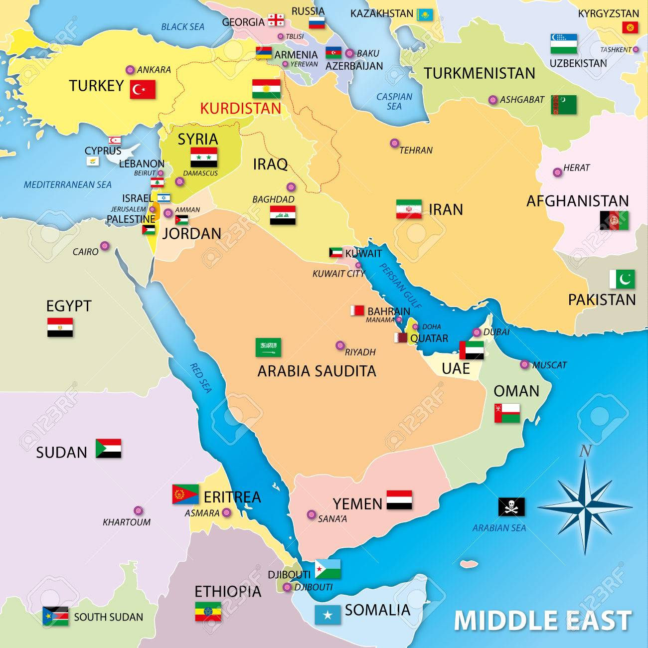 Middle East Map.Middle East Map With Flags Royalty Free Cliparts Vectors And Stock