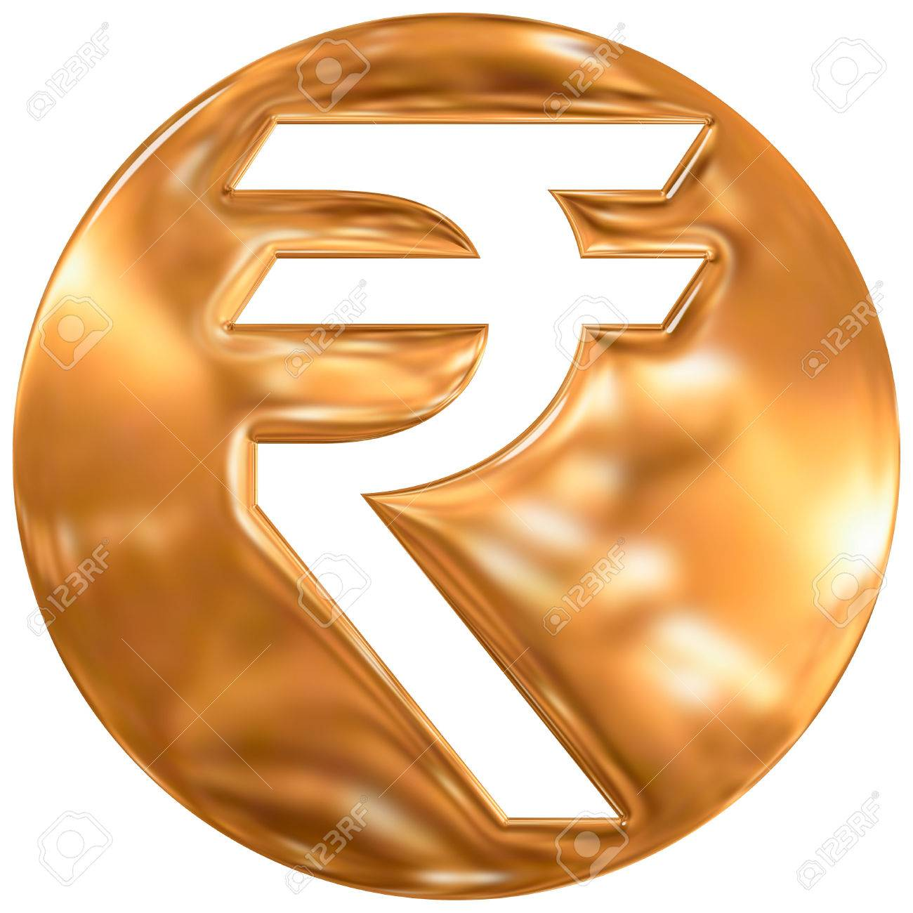 Indian Rupee Currency Symbol India Gold Finishing