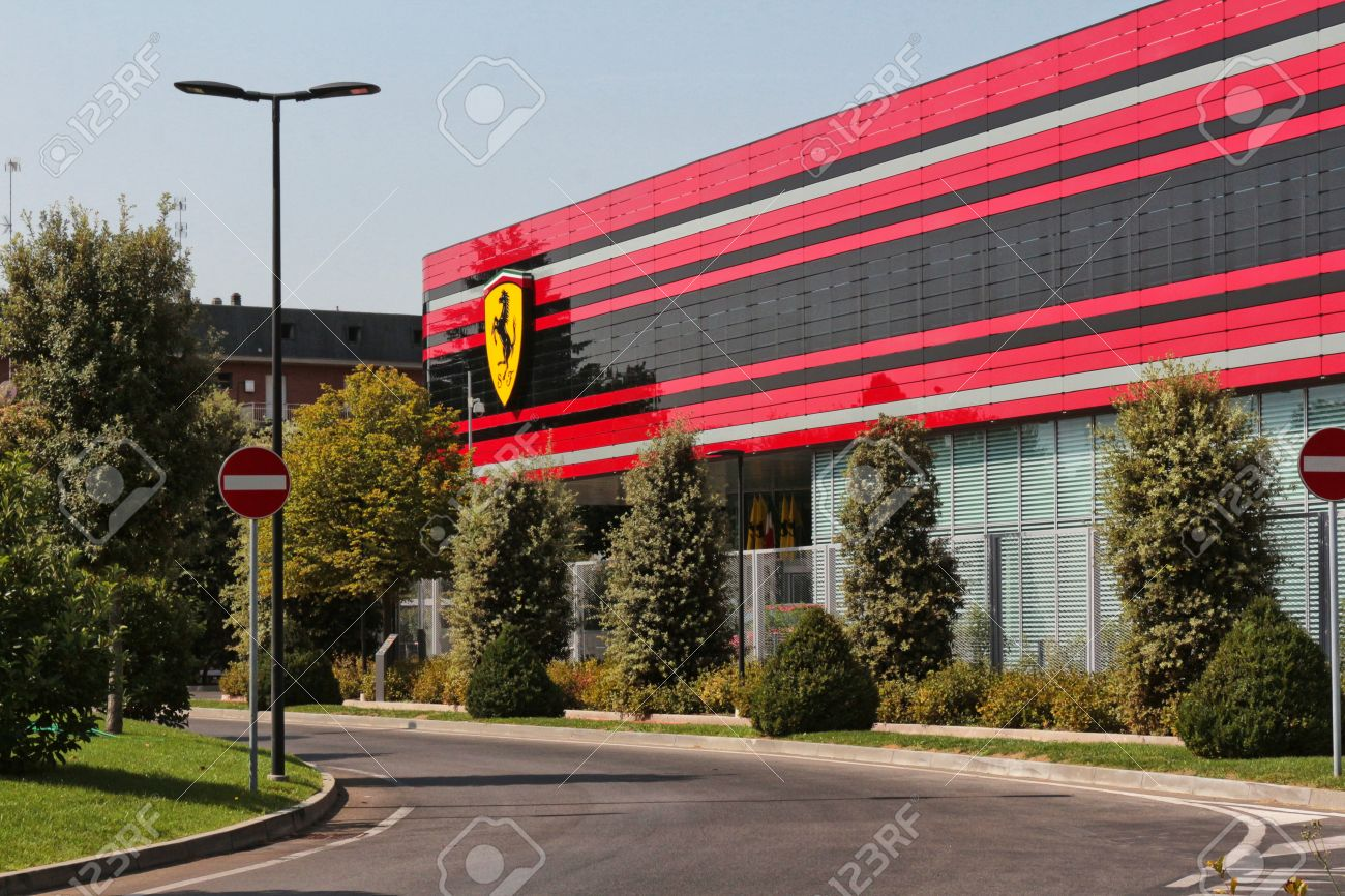 Maranello Modena Italy Year 2017 Ferrari Factory The Entrance Stock Photo Picture And Royalty Free Image Image 85149712