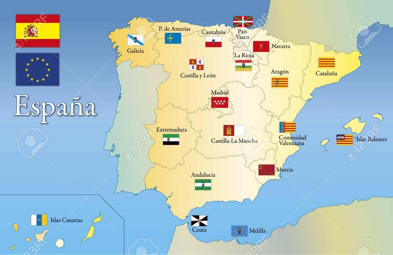 Regional Map Of Spain.Spain Regional Flag And Map Autonomous Community Of Spain