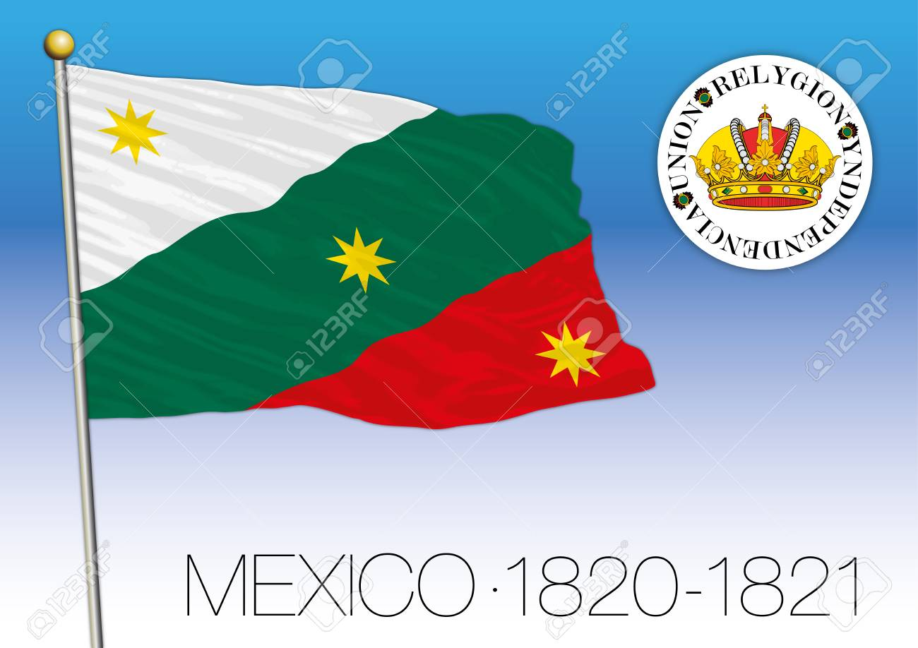 Mexico, Historical Flag 1820-1821, United Mexican States Royalty ...