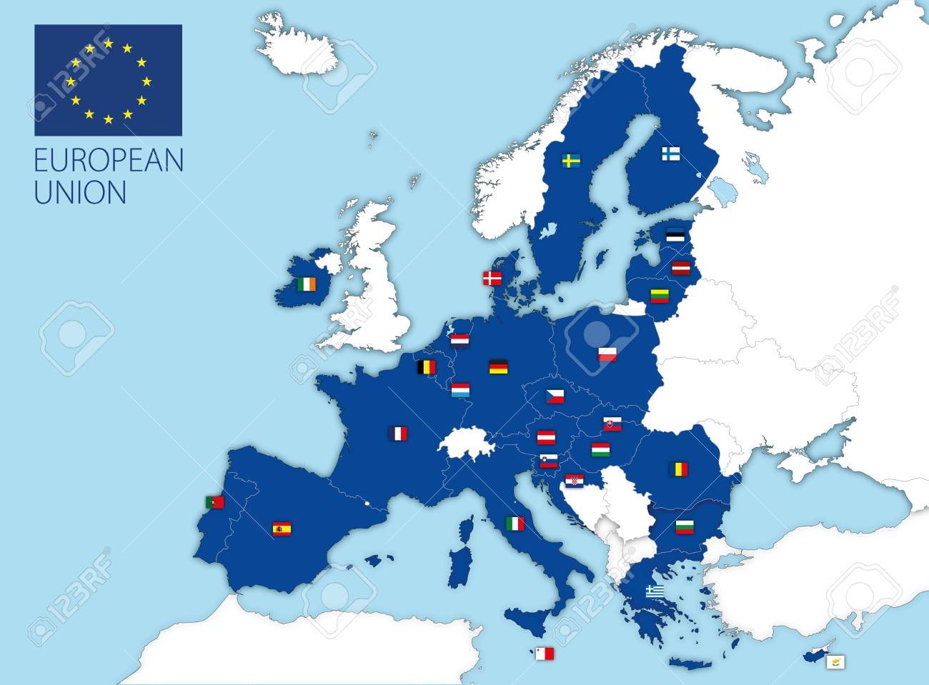 European Union map and flags after the UK Brexit