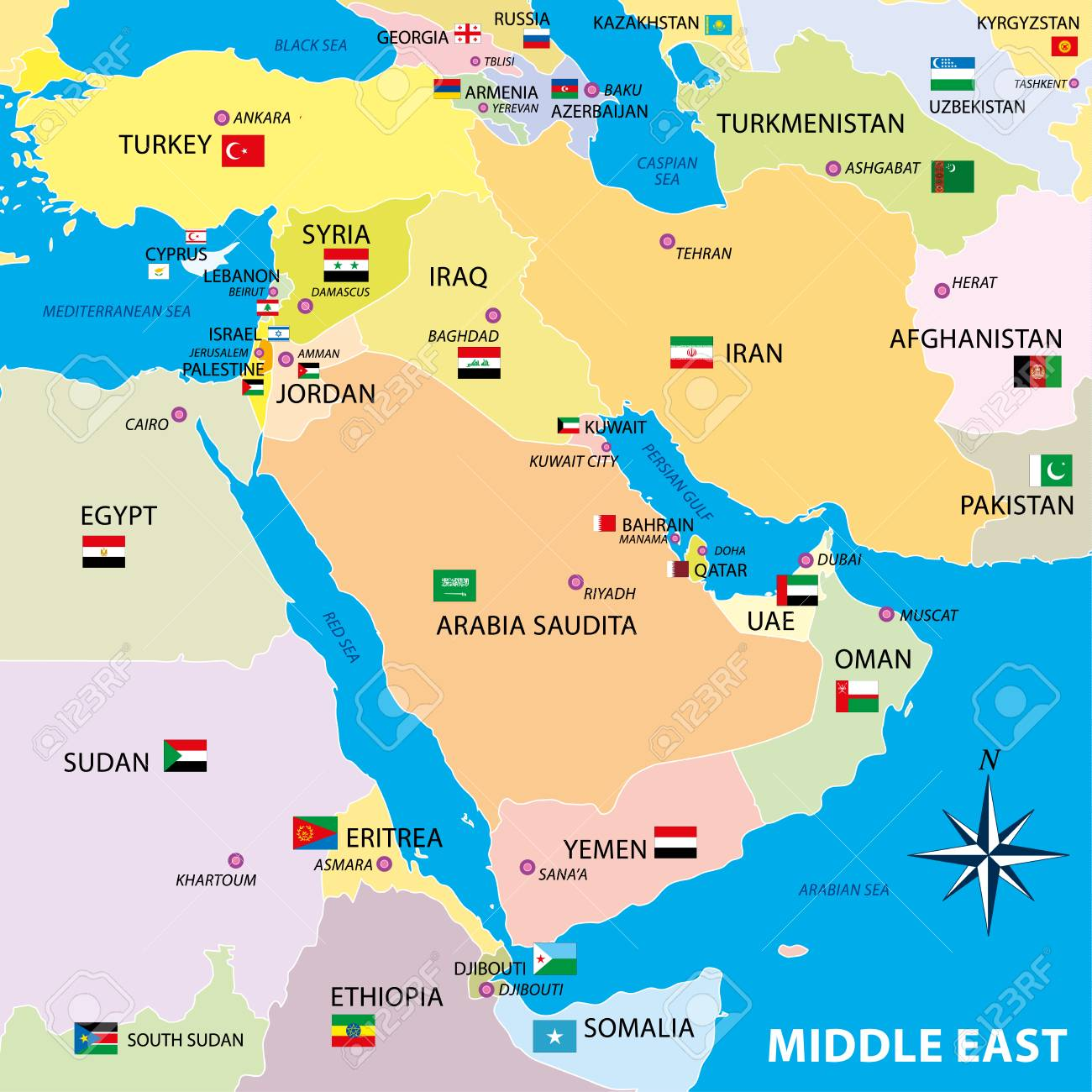 Middle East Map With Borders And Flags Royalty Free Cliparts ...