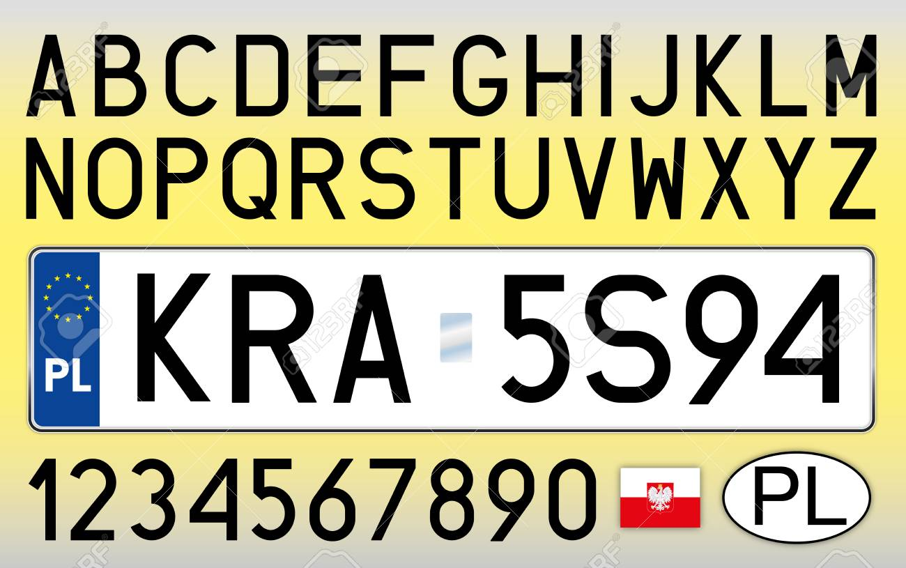 Poland Car License Plate Letters Numbers And Symbols Royalty Free Cliparts Vectors And Stock Illustration Image 103375450