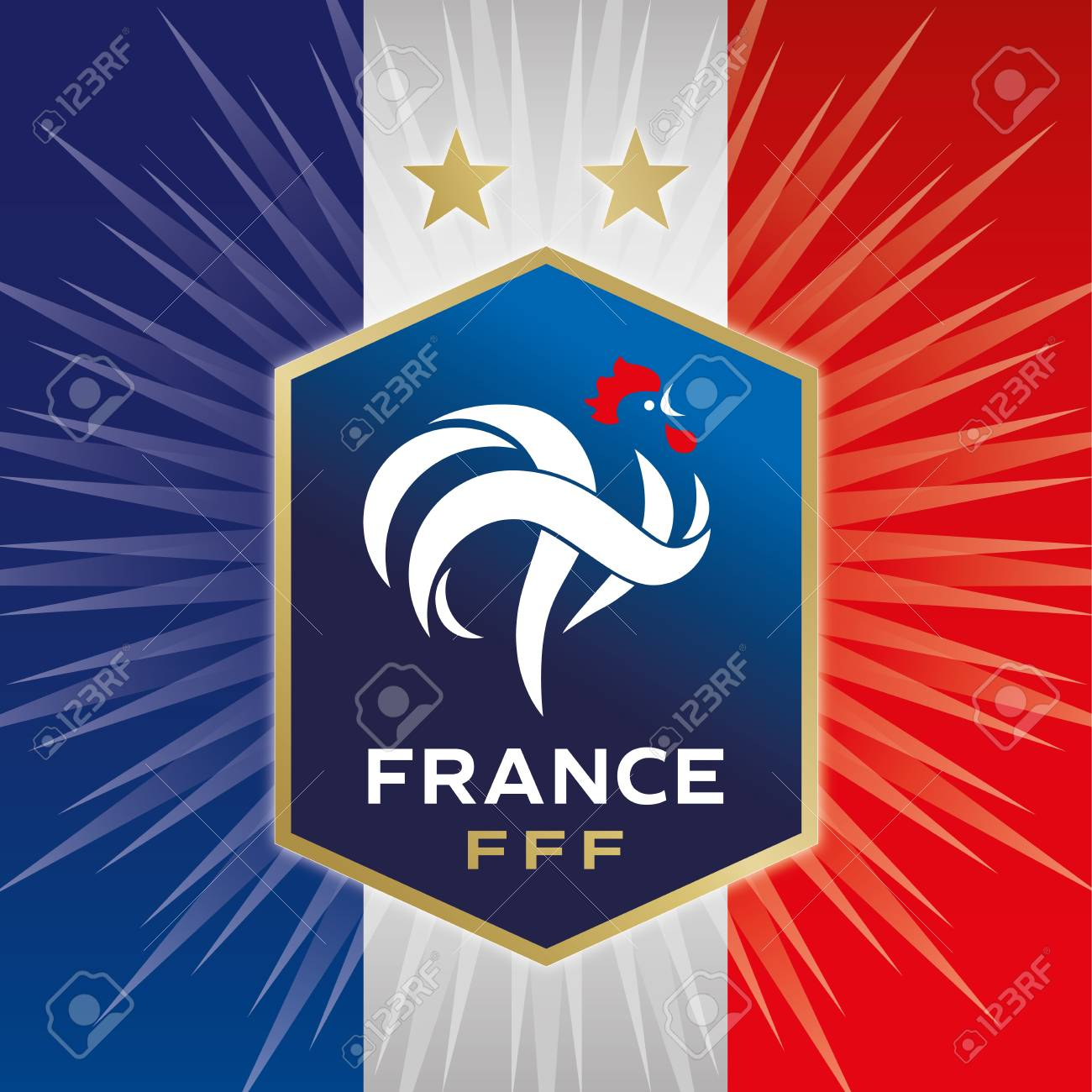 91acfbf60 France Football Federation logo with two stars and flag, editorial,  illustration Stock Photo -