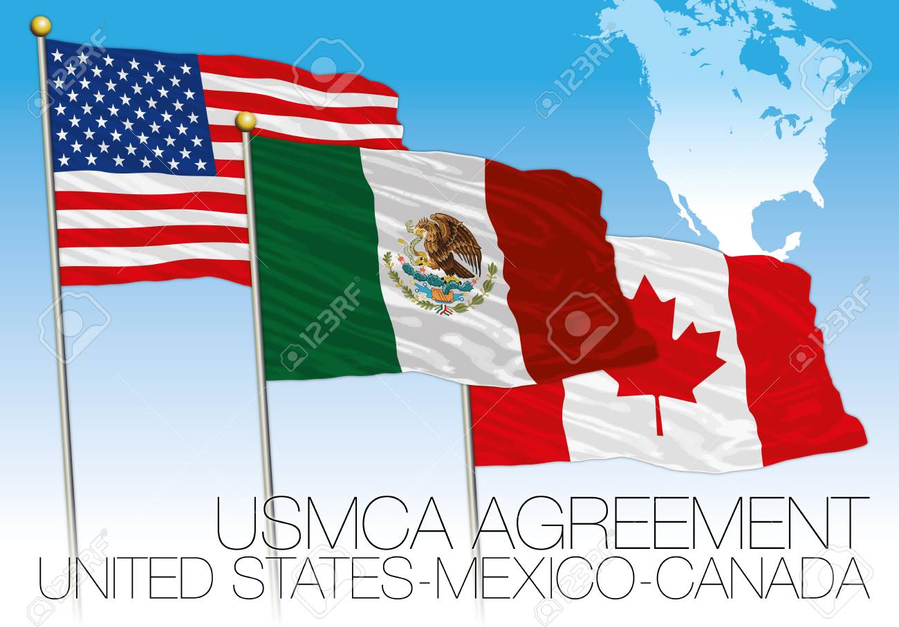 USMCA Agreement 2018 Flags, United States, Mexico, Canada, Vector ...