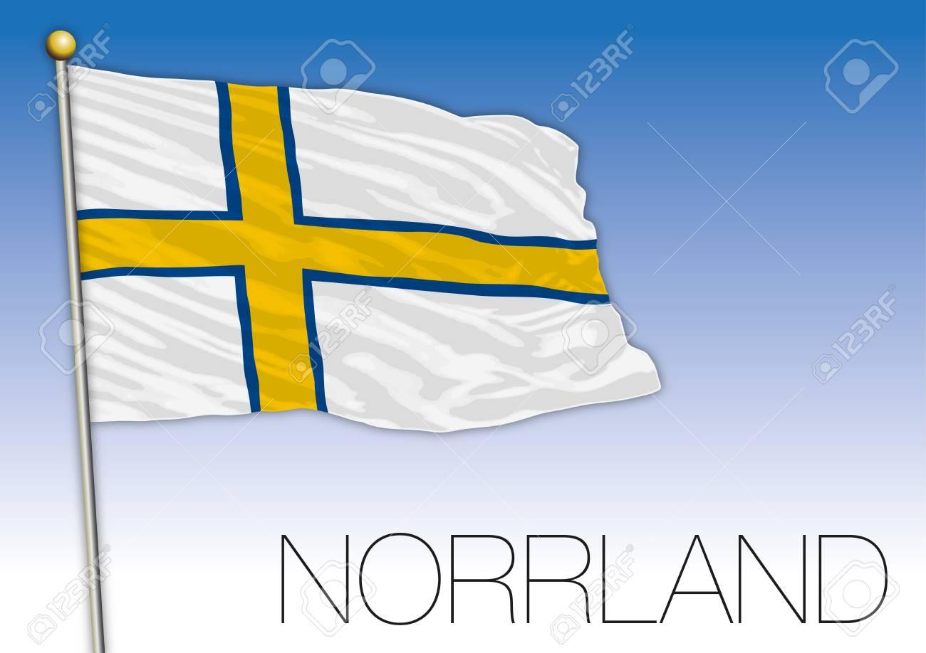 Norrland regional flag, Sweden, vector illustration - 119368878
