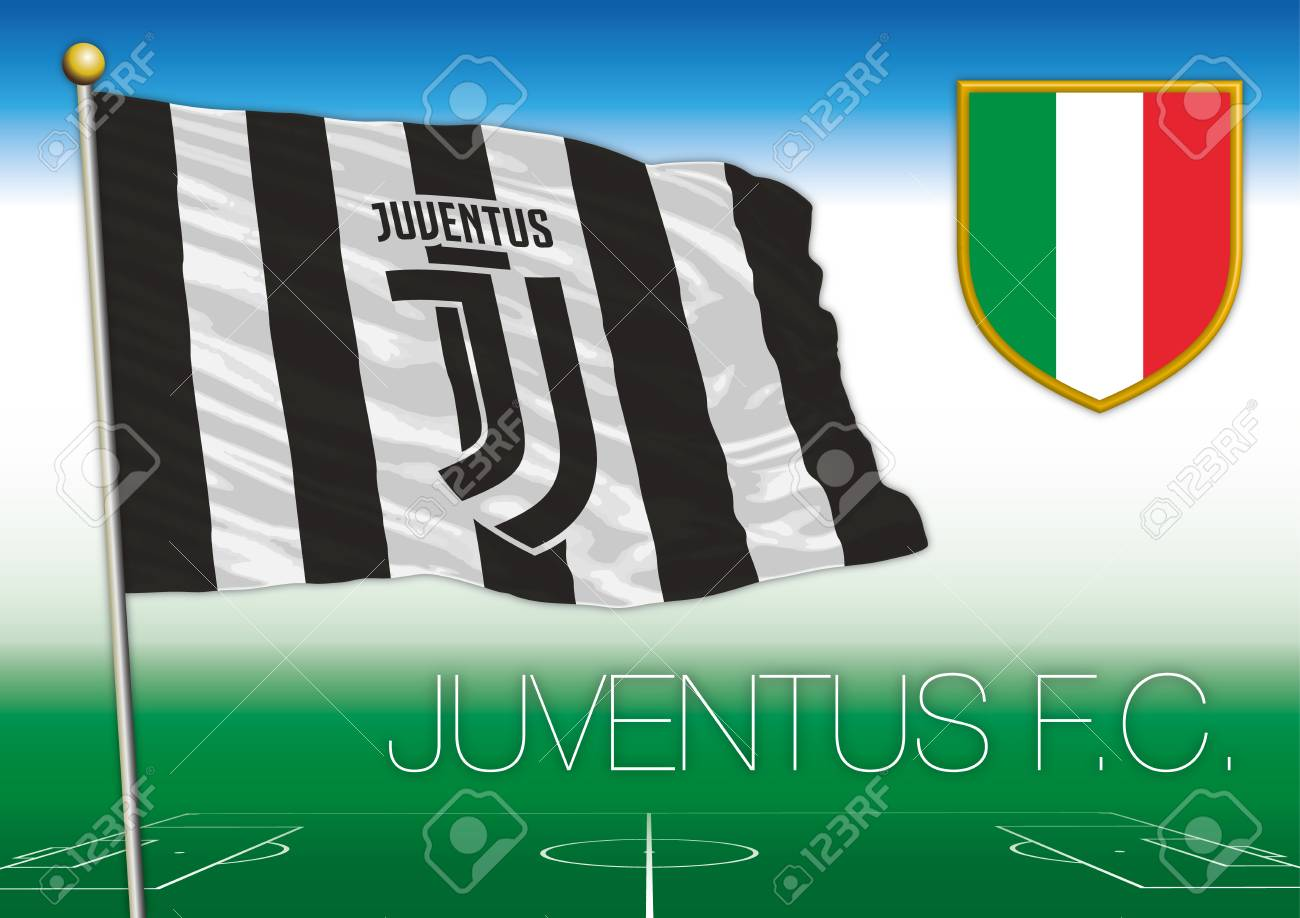 juventus football club flag with italian shield italy stock photo picture and royalty free image image 120454748 juventus football club flag with italian shield italy