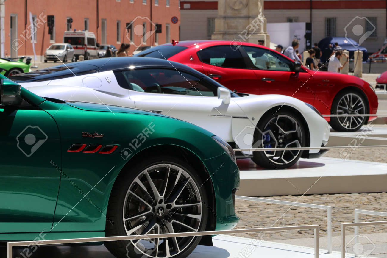 MODENA, ITALY, July 1 2021 - Motor Valley Fest exhibition, Maserati cars parade in the square - 172231230