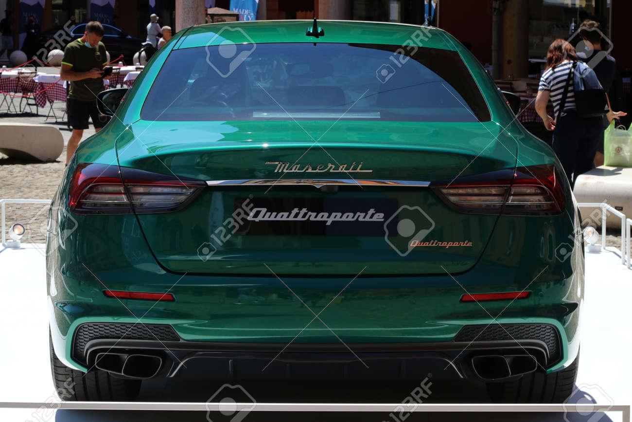 MODENA, ITALY, July 1 2021 - Motor Valley Fest exhibition, Maserati Quattroporte back side detail - 172231229