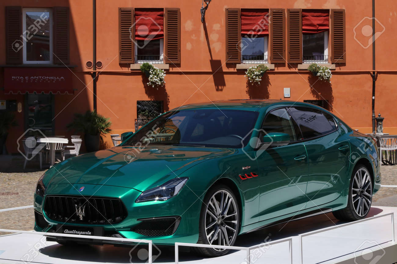 MODENA, ITALY, July 1 2021 - Motor Valley Fest exhibition, Maserati Quattroporte car detail - 172231225