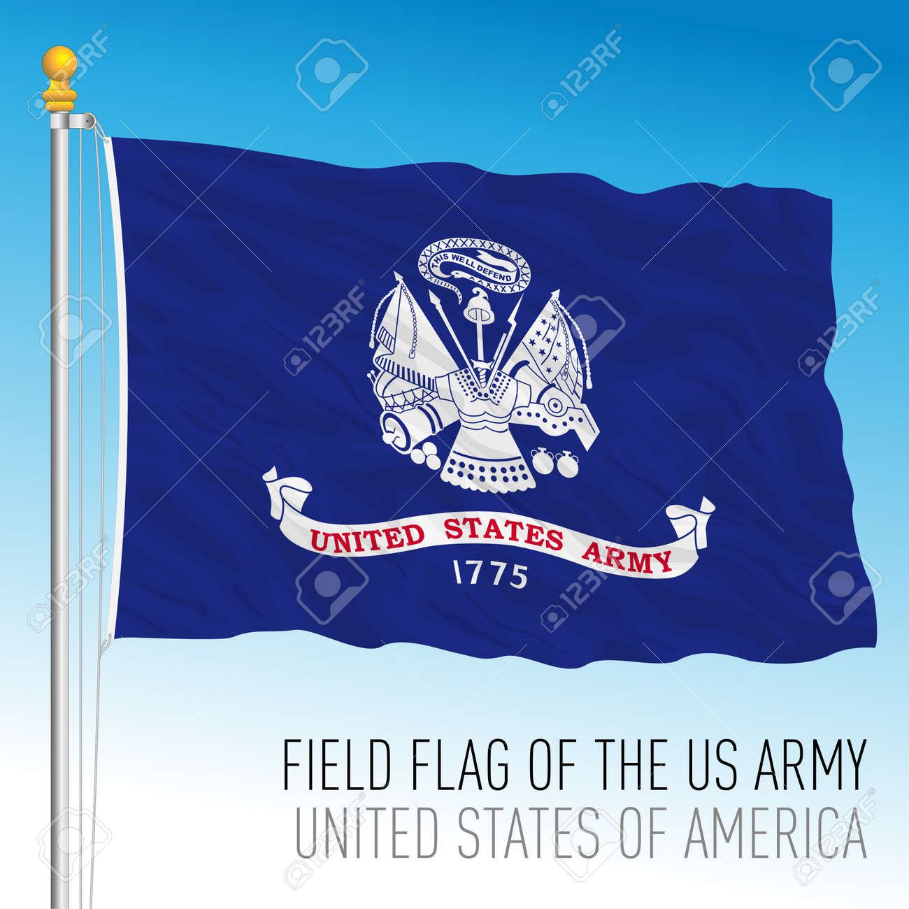 US Army field flag, United States of America, vector illustration - 172626031