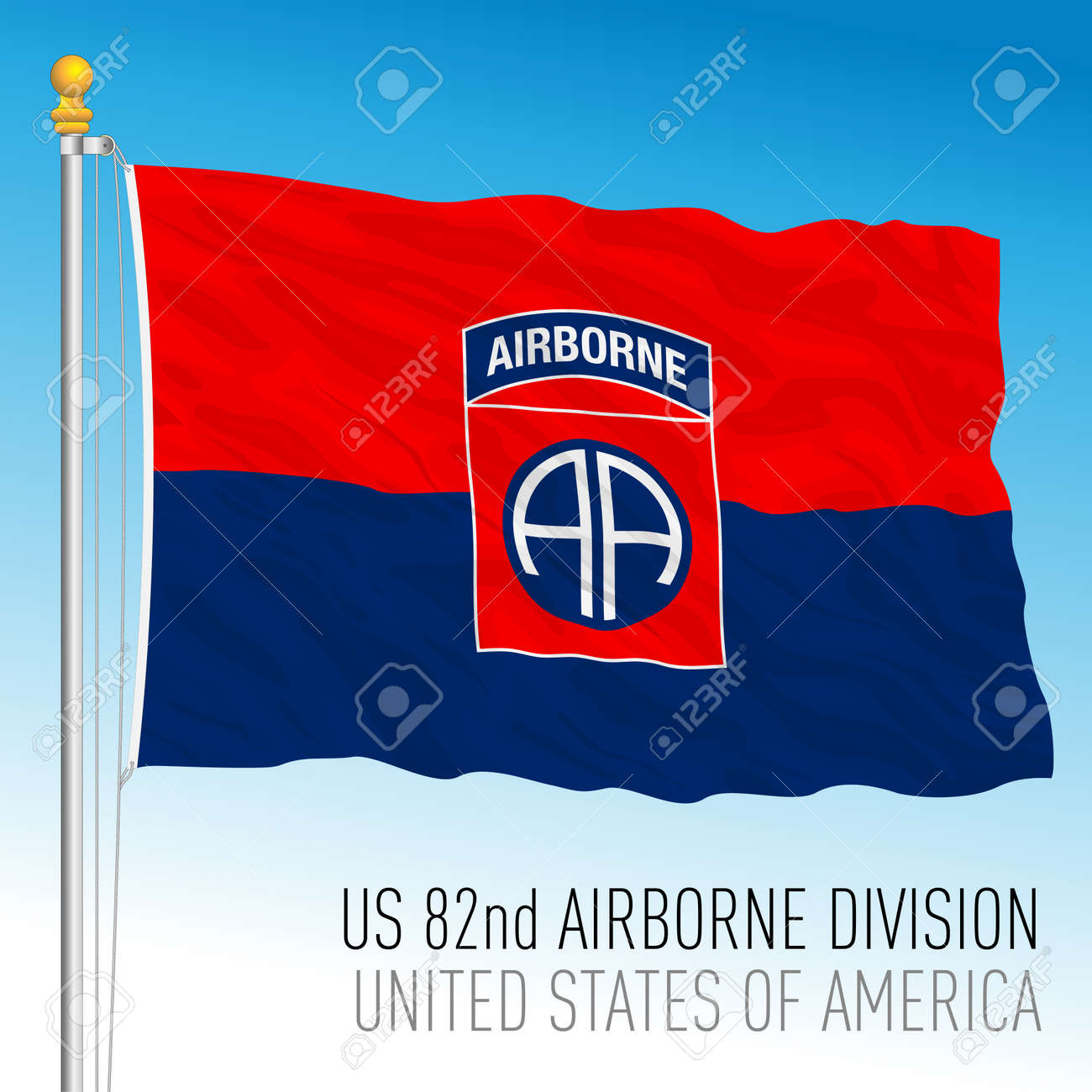 US 82nd Airborne Division flag, United States of America, vector illustration - 172711970