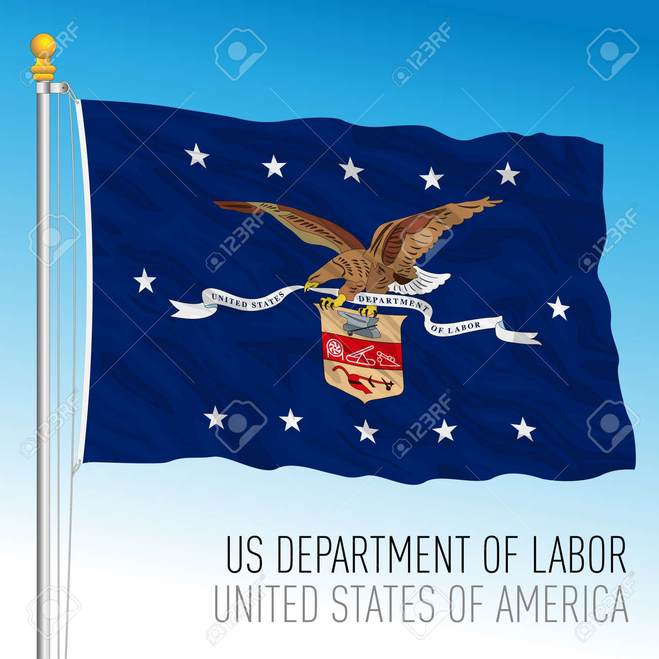 US Department of Labor flag, United States of America, vector illustration - 172855438