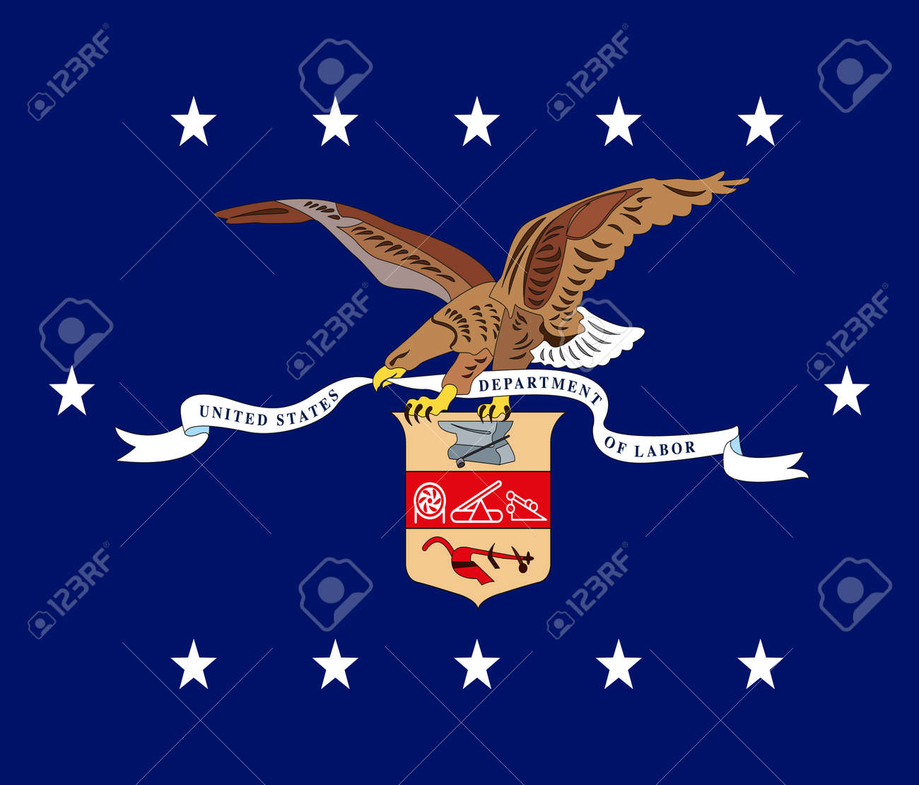 US Department of Labor flag, United States of America, vector illustration - 172855764