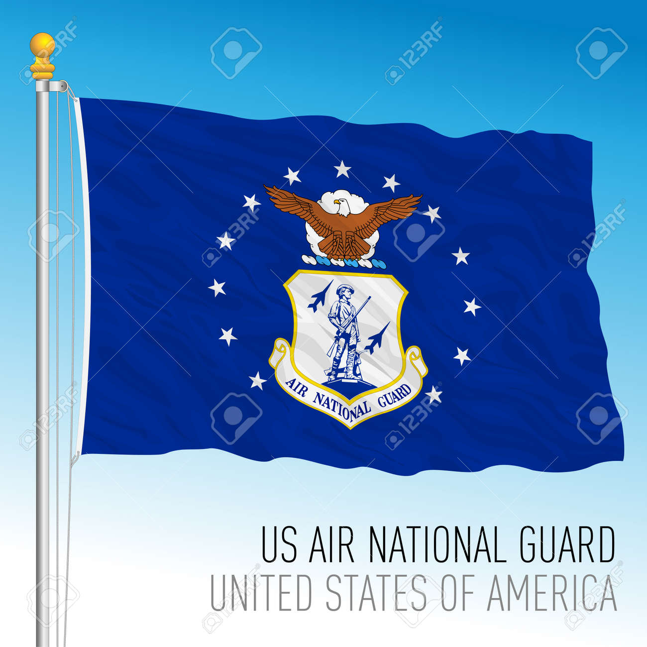 US Air National Guard flag, United States of America, vector illustration - 172957706