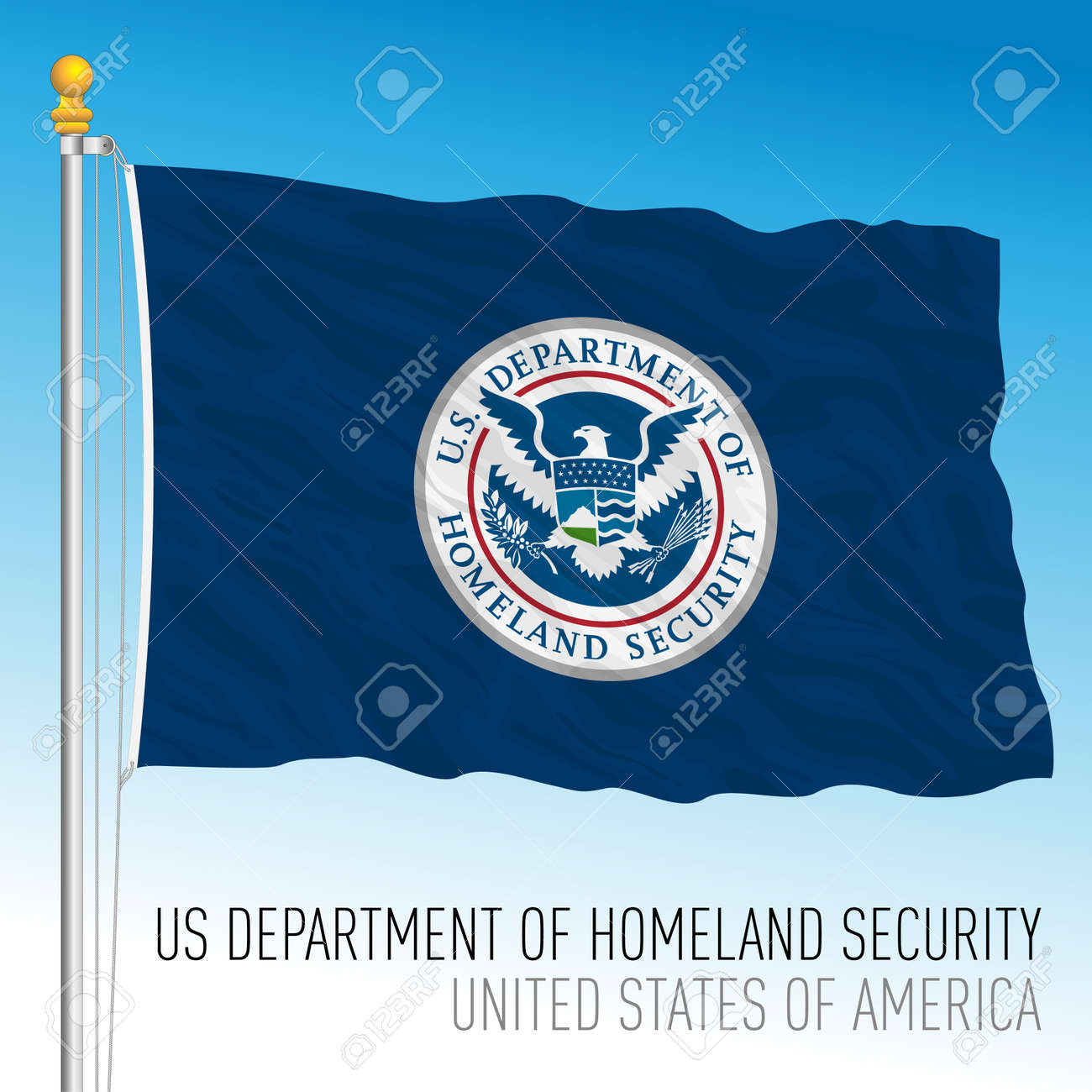 US Department of Homeland security flag, United States of America, vector illustration - 172982035