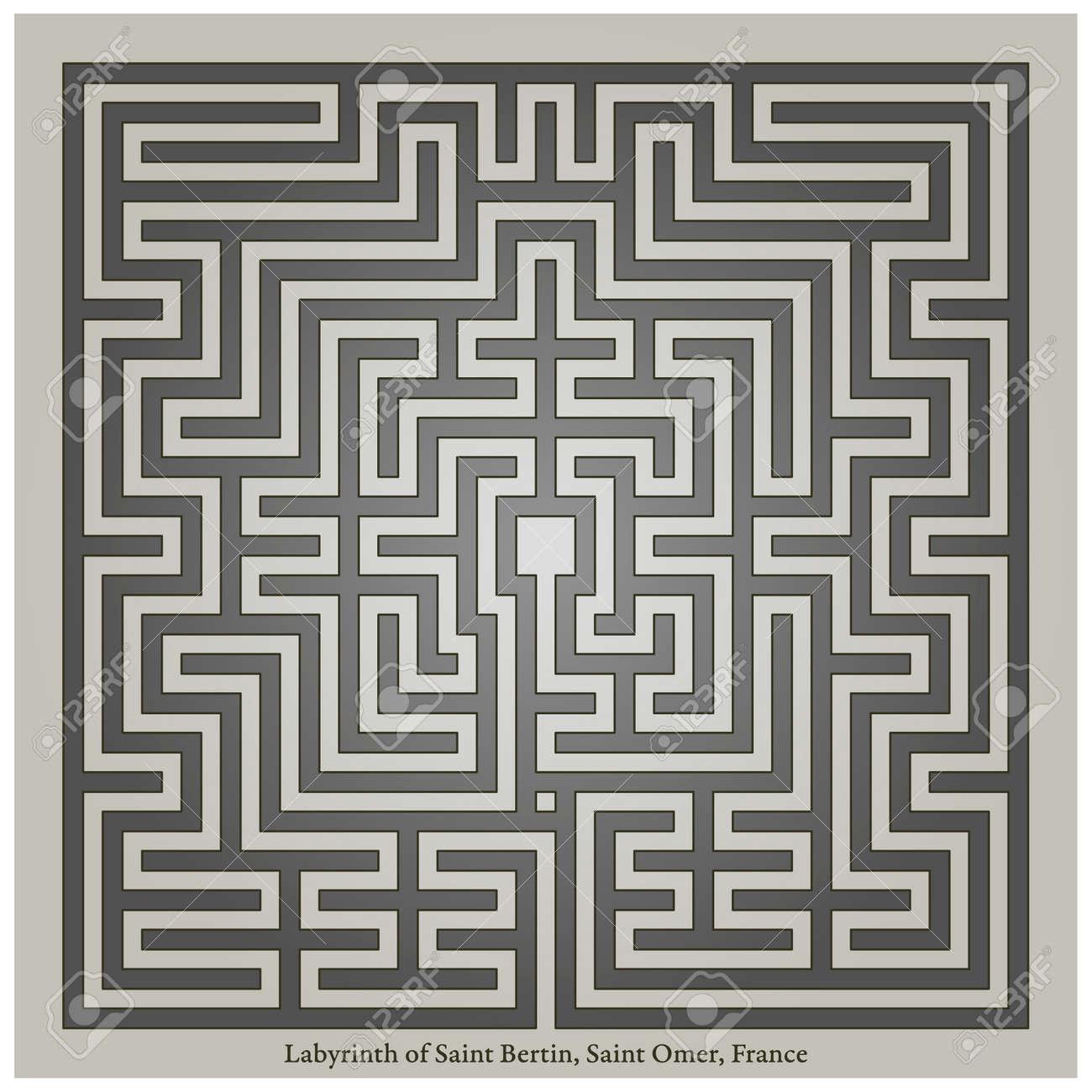 Labyrinth of Saint Bertin, Saint Omer, France, vector illustration - 173043038