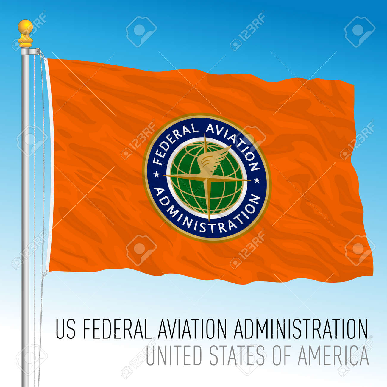 US Federal Aviation Administration flag, United States of America, vector illustration - 173306133