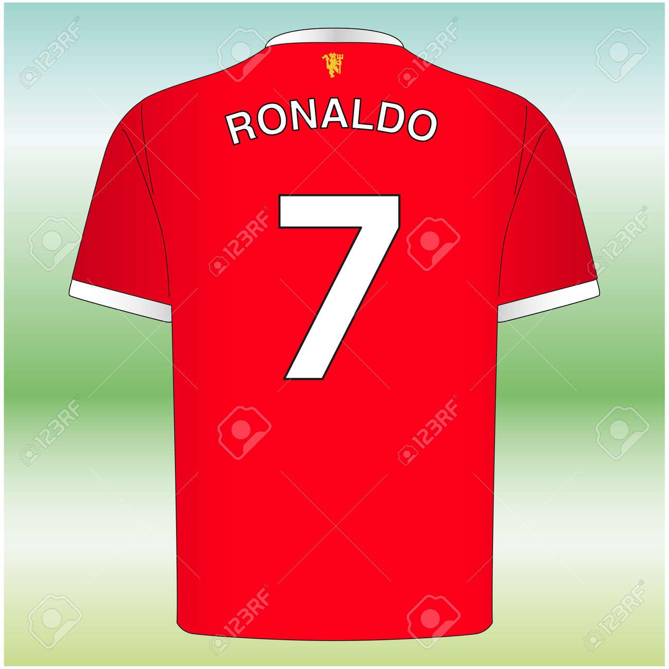 Manchester, UK, August 2021, Ronaldo number 7 shirt, new manchester united player, football team - 173485629