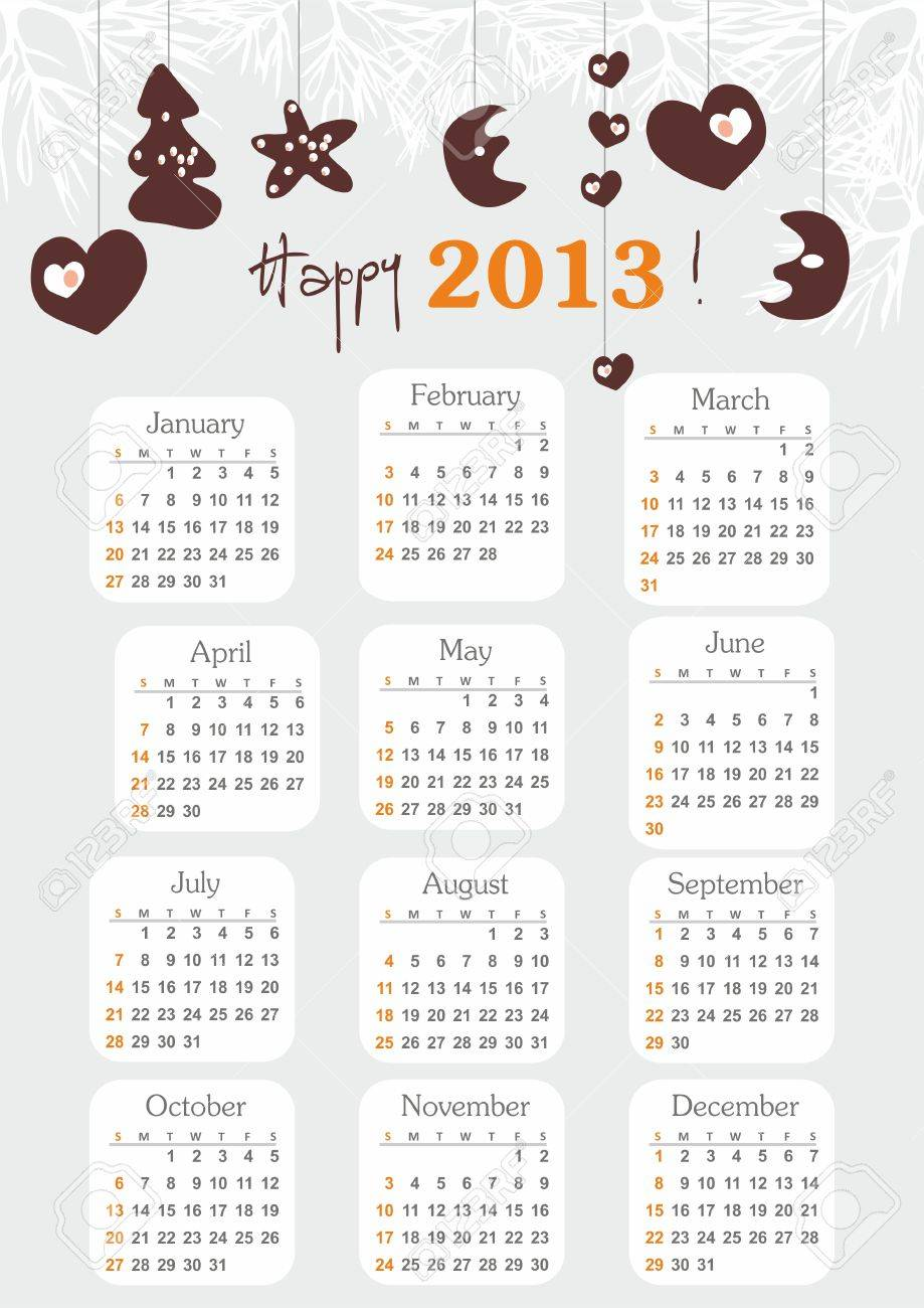 Calendar 2013 with hand drawn elements week starts at sunday Stock Vector - 16228184
