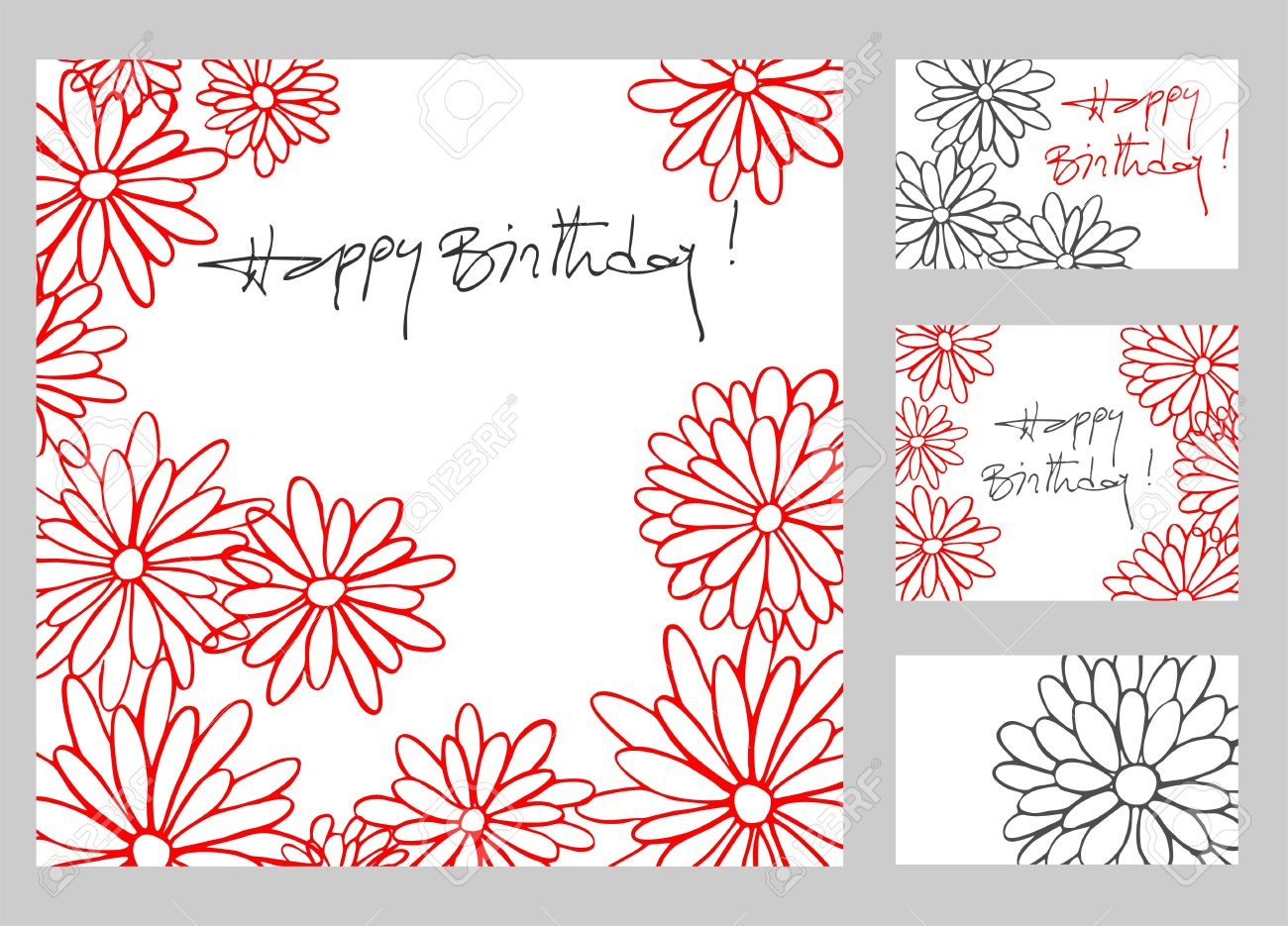 Happy birthday greetings cards set with hand drawn flowers royalty happy birthday greetings cards set with hand drawn flowers stock vector 18677569 kristyandbryce Gallery