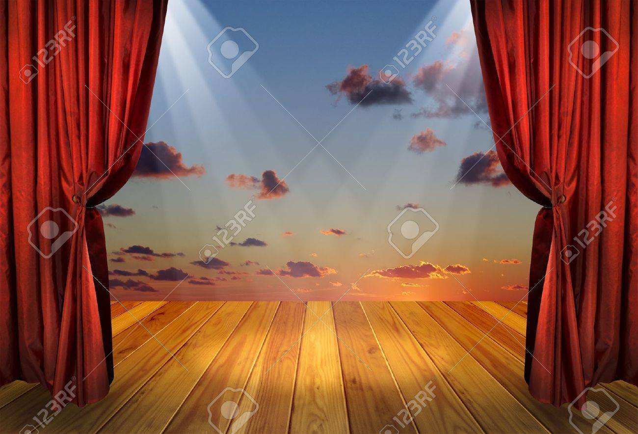 Stock photo dramatic red old fashioned elegant theater stage stock - Stage Theater Theater Stage With Red Curtains And Spotlights On The Stage Wooden Floor Theatre