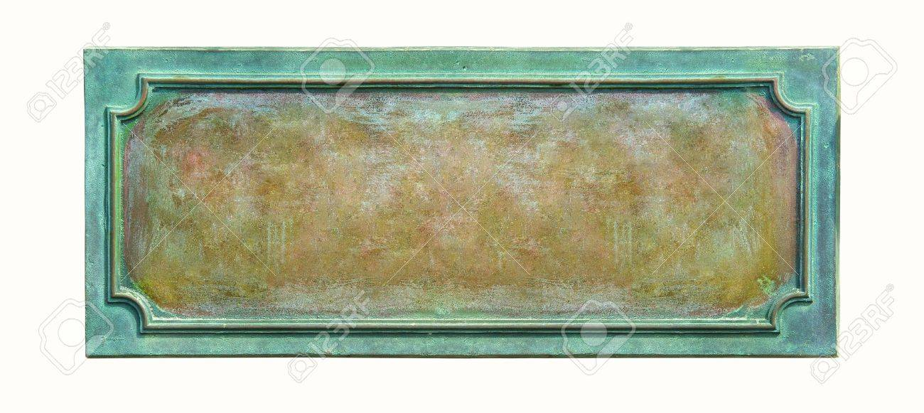 Metal plate with frame and grunge texture for your text  Blank antique weathered plaque with cracks and scratches on the metal surface, isolated on white background Stock Photo - 13350887