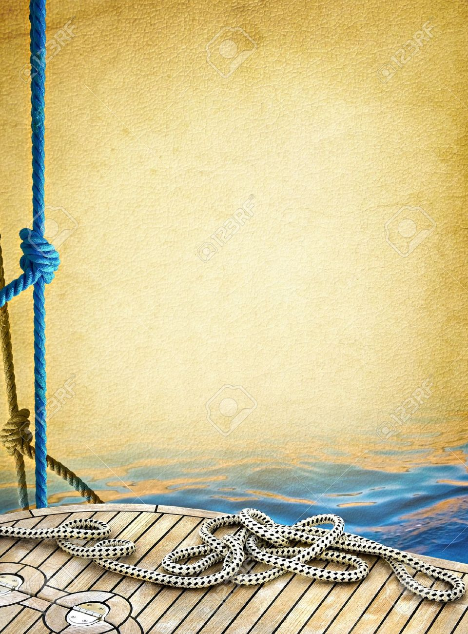 Ship rope on the old paper background  Sailboat ropes and wooden deck of the sea - vintage textured background  Marine design frame with elements of yachting Stock Photo - 13350090