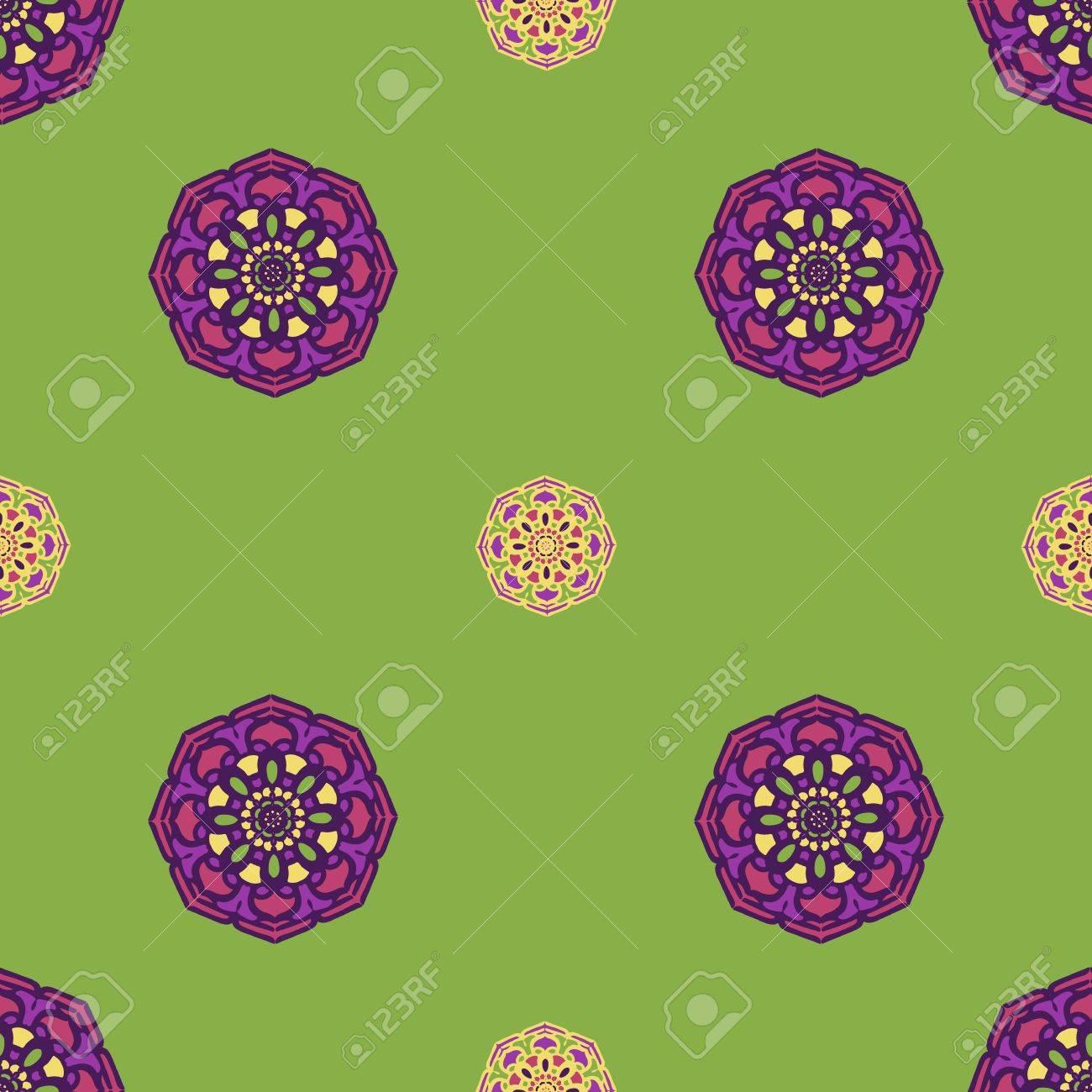 Sfondo Astratto Verde E Viola Forme Di Mandala