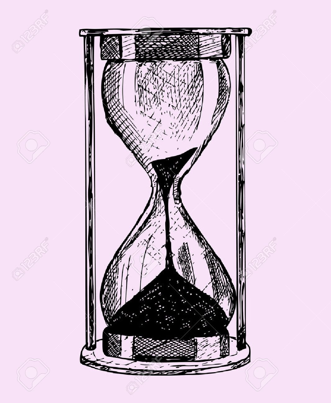 hourglass, doodle style, sketch illustration isolated on pink background - 50055750