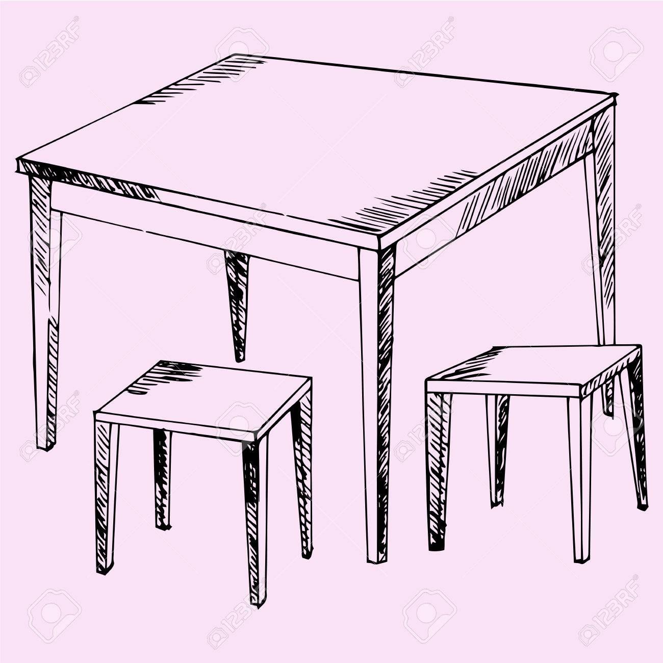 Mesa Y Sillas Cocina, Estilo De Dibujo, Ilustración Boceto ...