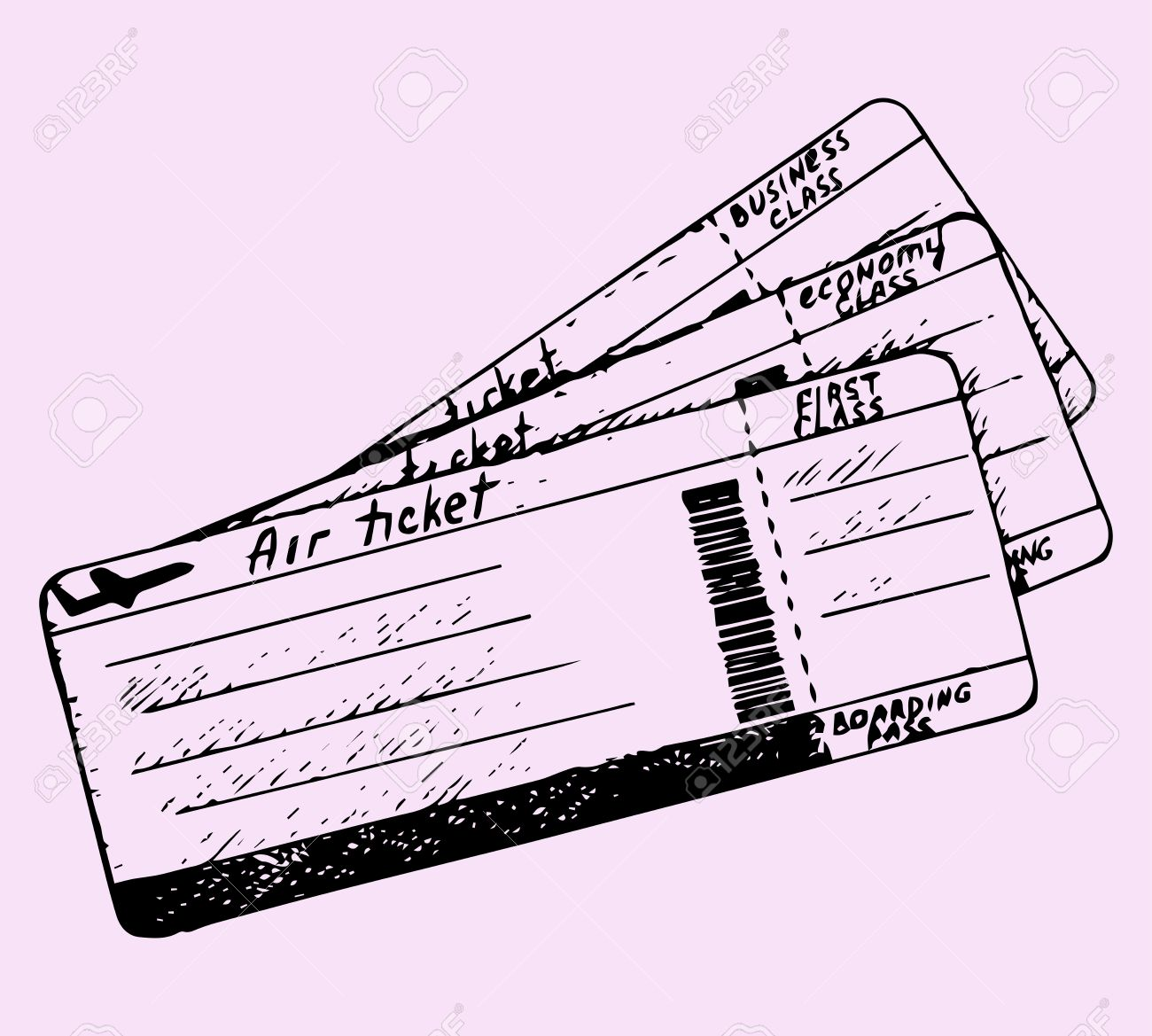 air ticket, doodle style, sketch illustration - 50128446