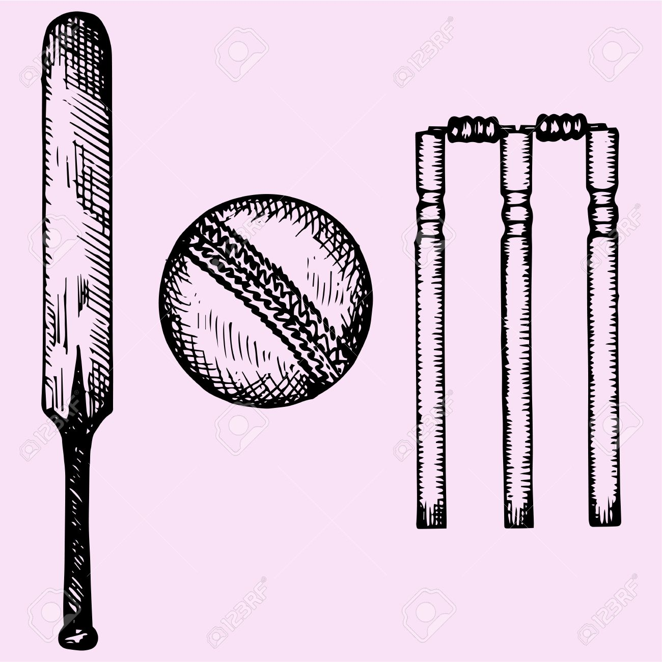 Set Of Equipment For Cricket Bat Ball Wicket Doodle Style