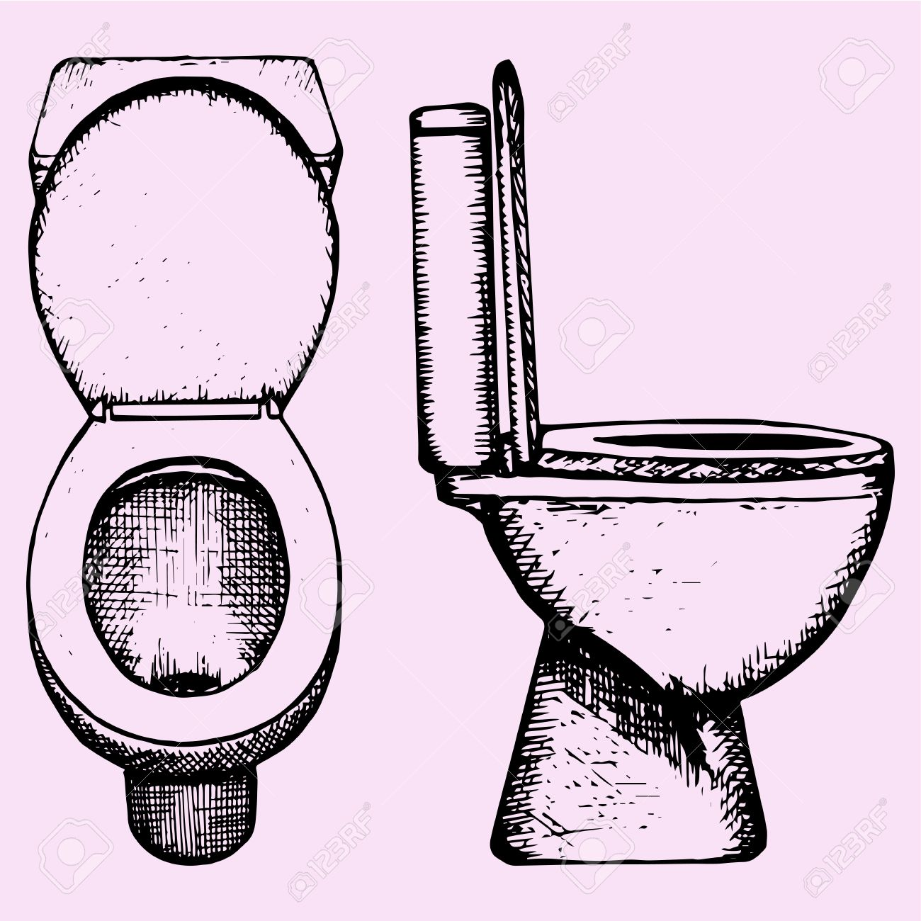 Set Ceramic Toilet Bowl In Bathroom Hand Drawn Doodle Style Sketch Illustration Stock