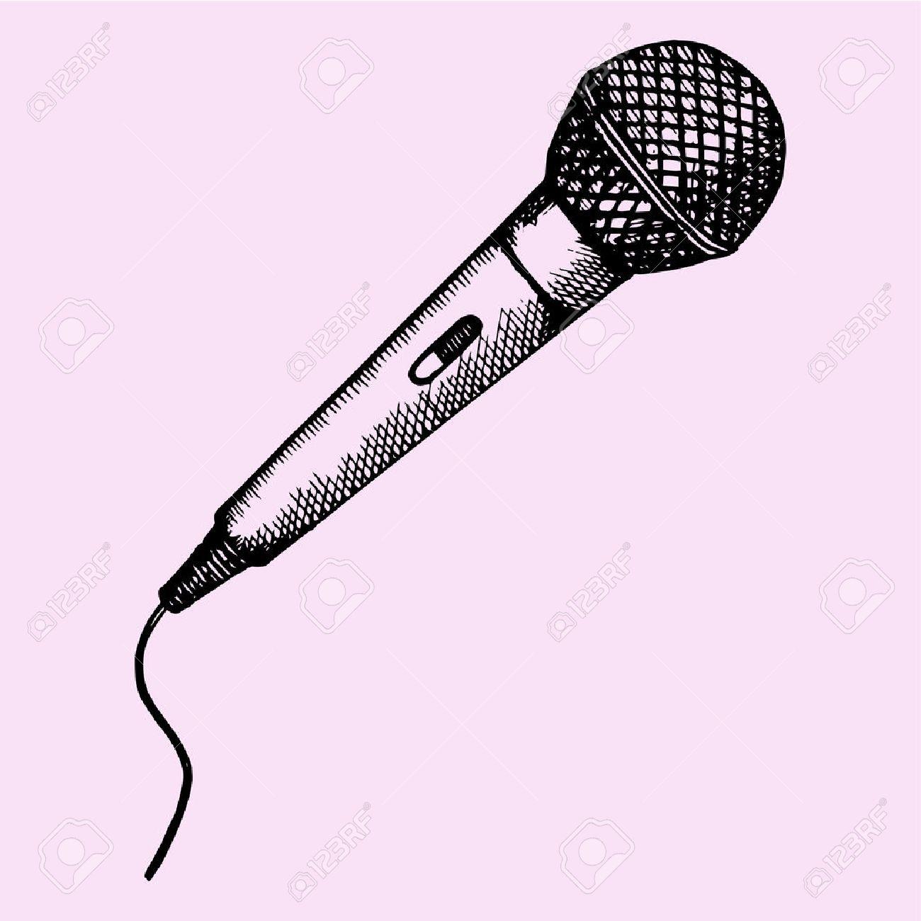 Micrófono Para El Karaoke El Estilo De Dibujo Ilustración Boceto Dibujado A Mano Vector