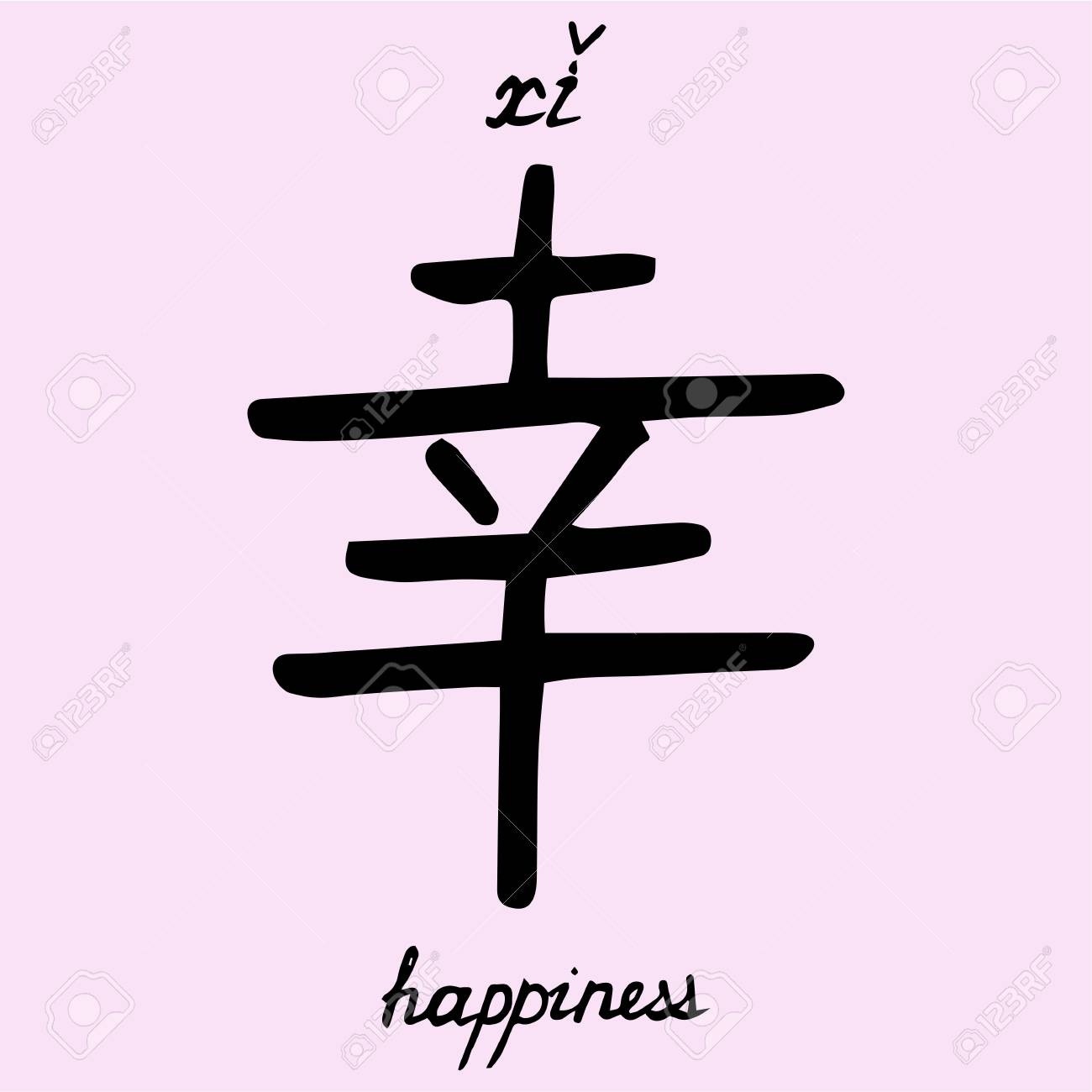 Chinese Character Happiness With Translation Into English Royalty