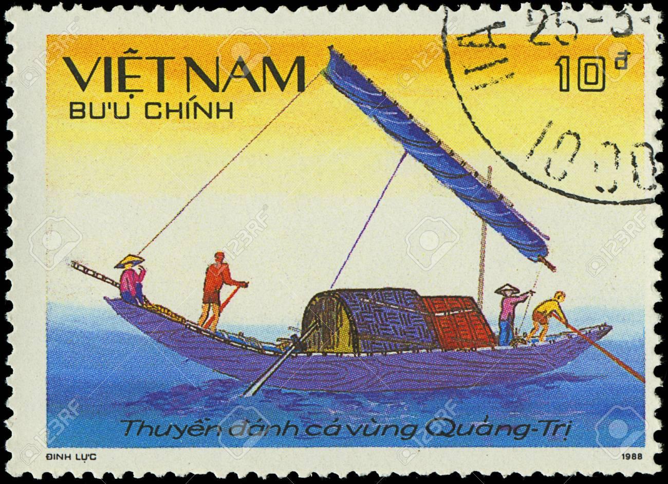 VIETNAM - CIRCA 1988  a stamp printed by VIETNAM shows image of a sailing ship, series, circa 1988 Stock Photo - 18033232