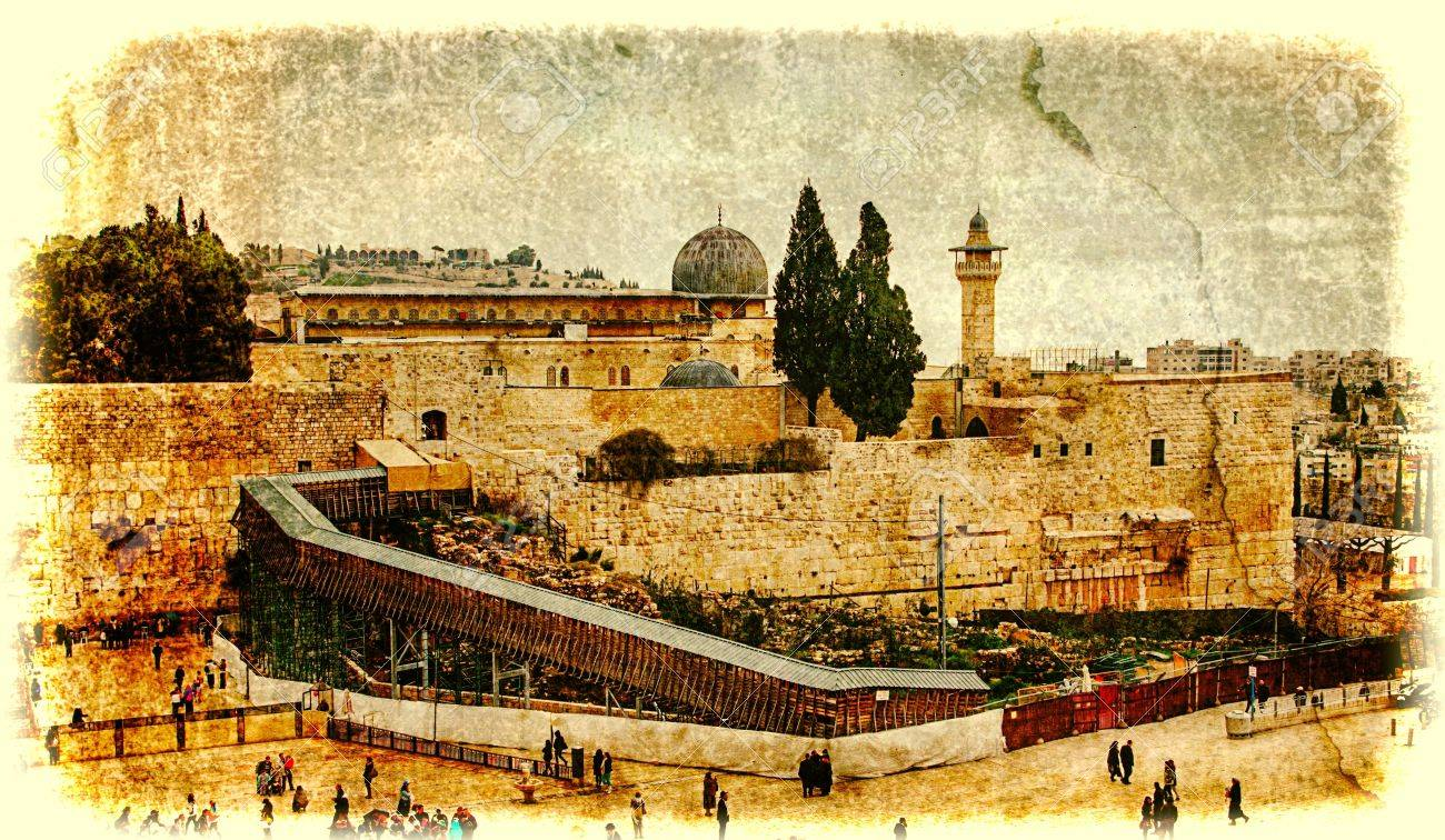Western Wall,Temple Mount, Jerusalem, Israel Photo In Old Color ...