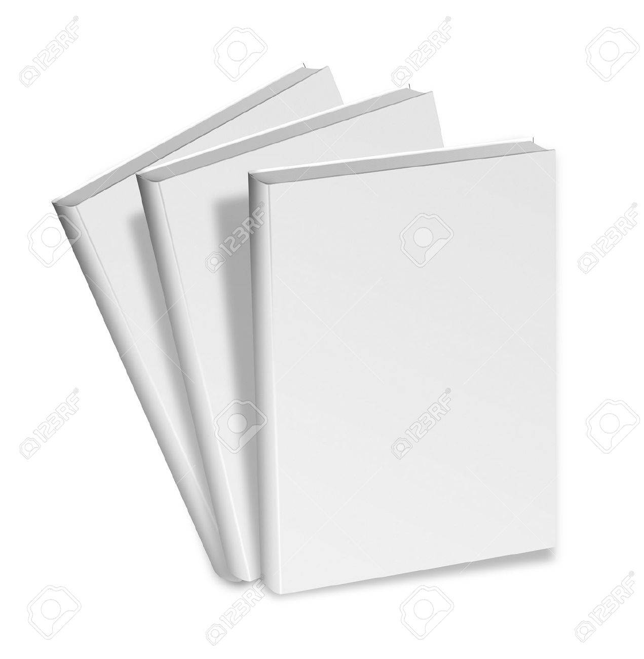 collection of various blank white books on white background with clipping path - 19113943